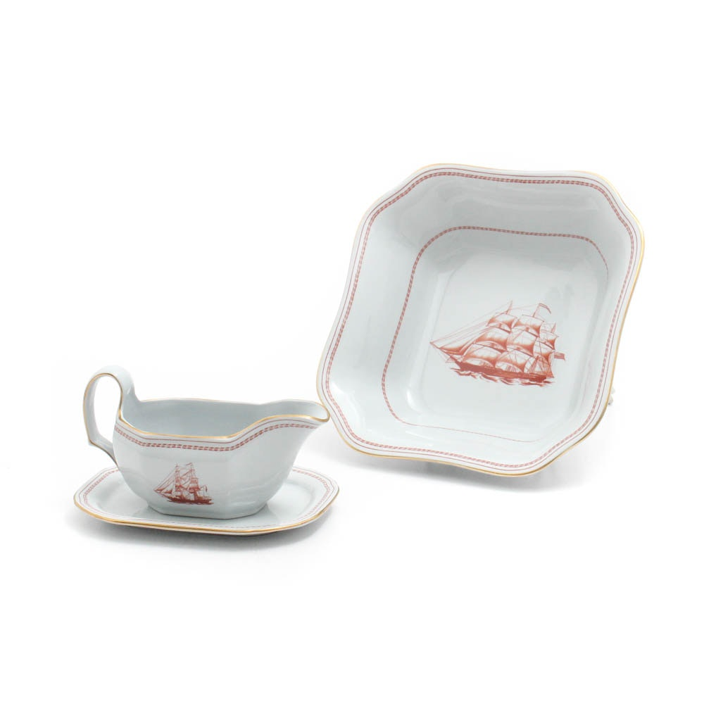 """Spode """"Trade Winds Red"""" Vegetable Bowl and Gravy Boat"""