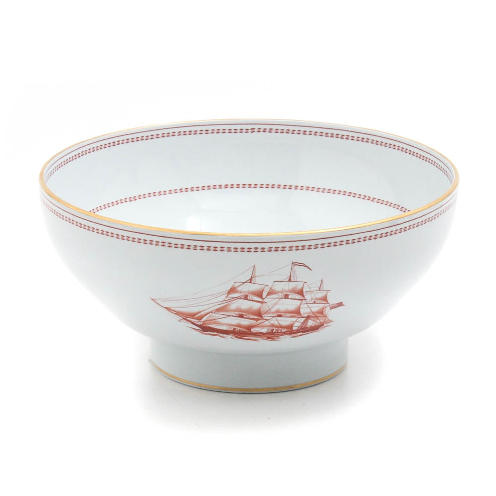 """Copeland Spode """"Trade Winds Red"""" Footed Bowl"""