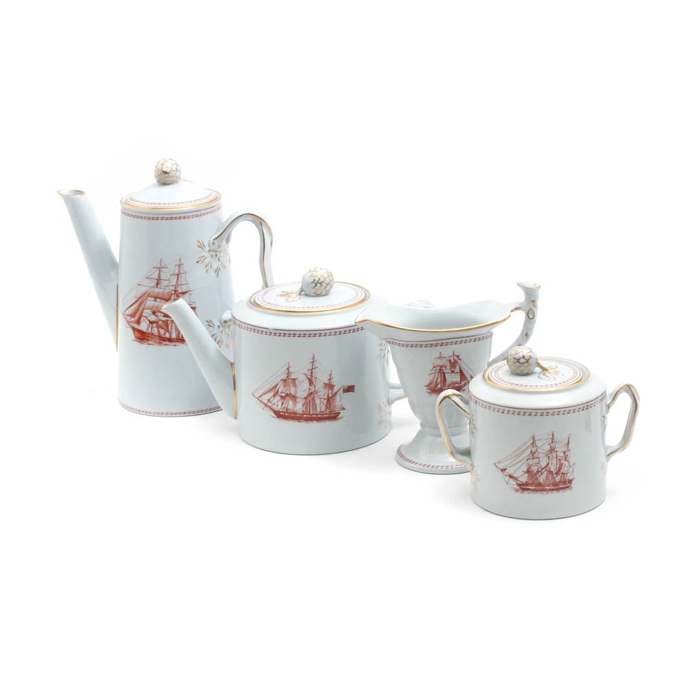 "Copeland Spode ""Trade Winds Red"" Tea and Coffee Set"