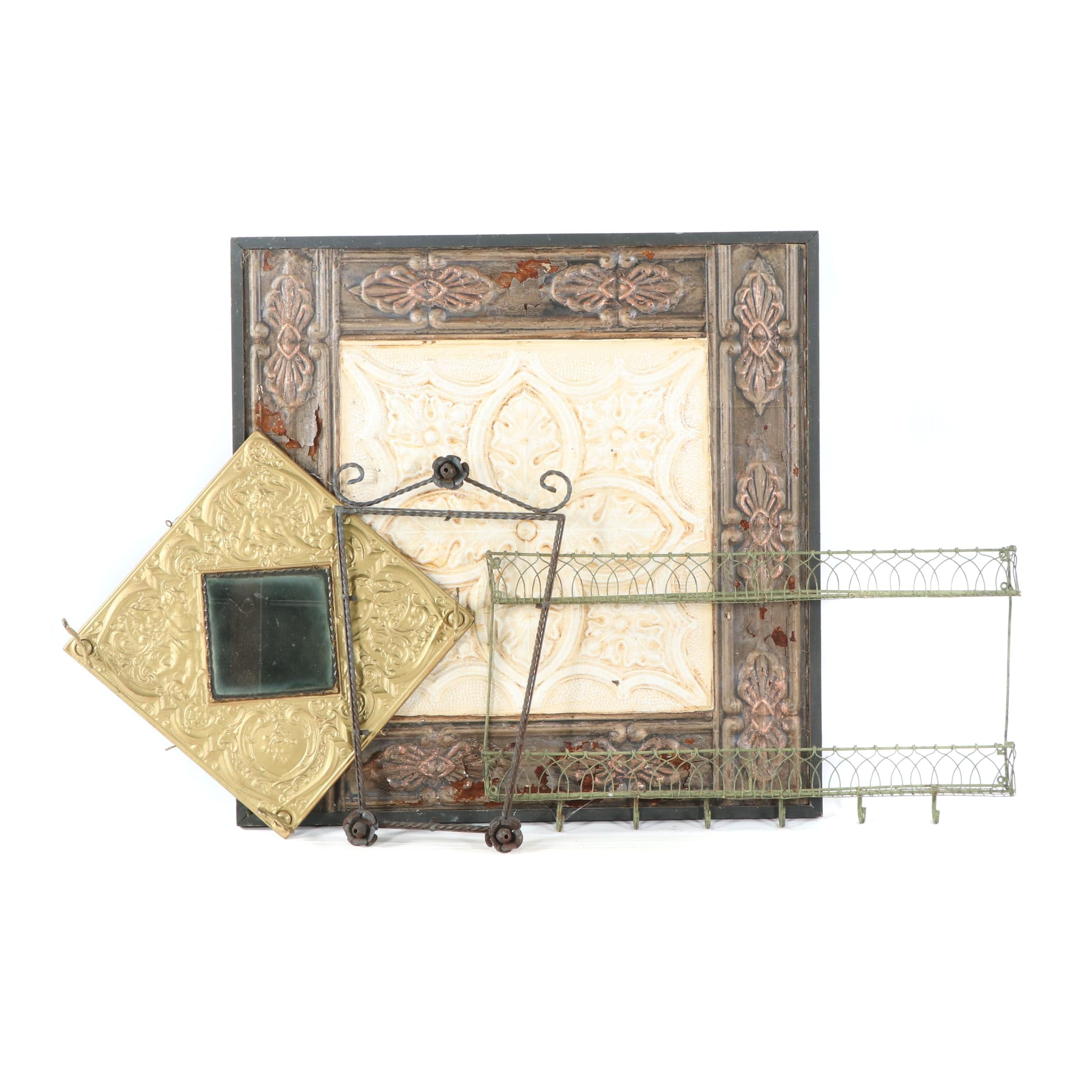 """""""Ceiling Tile"""" Wall Hanging with Mirror, Frame, and Wall Hooks"""