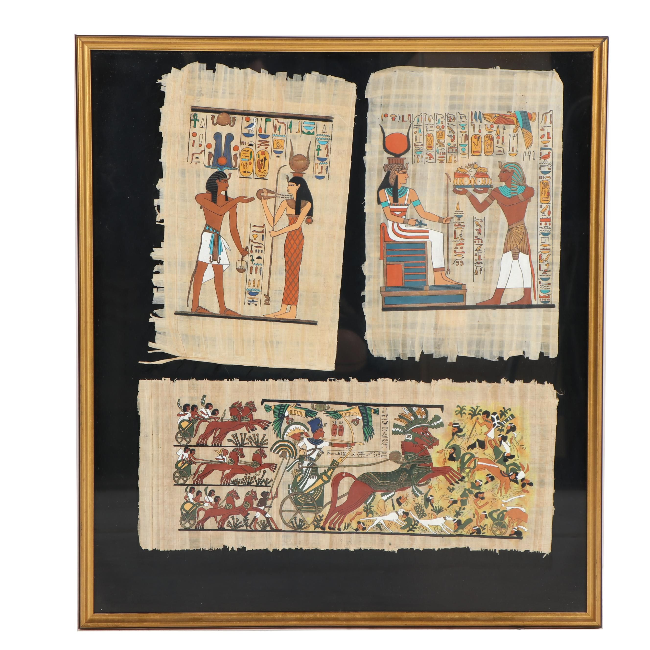 Contemporary Egyptian Style Gouache Paintings on Papyrus