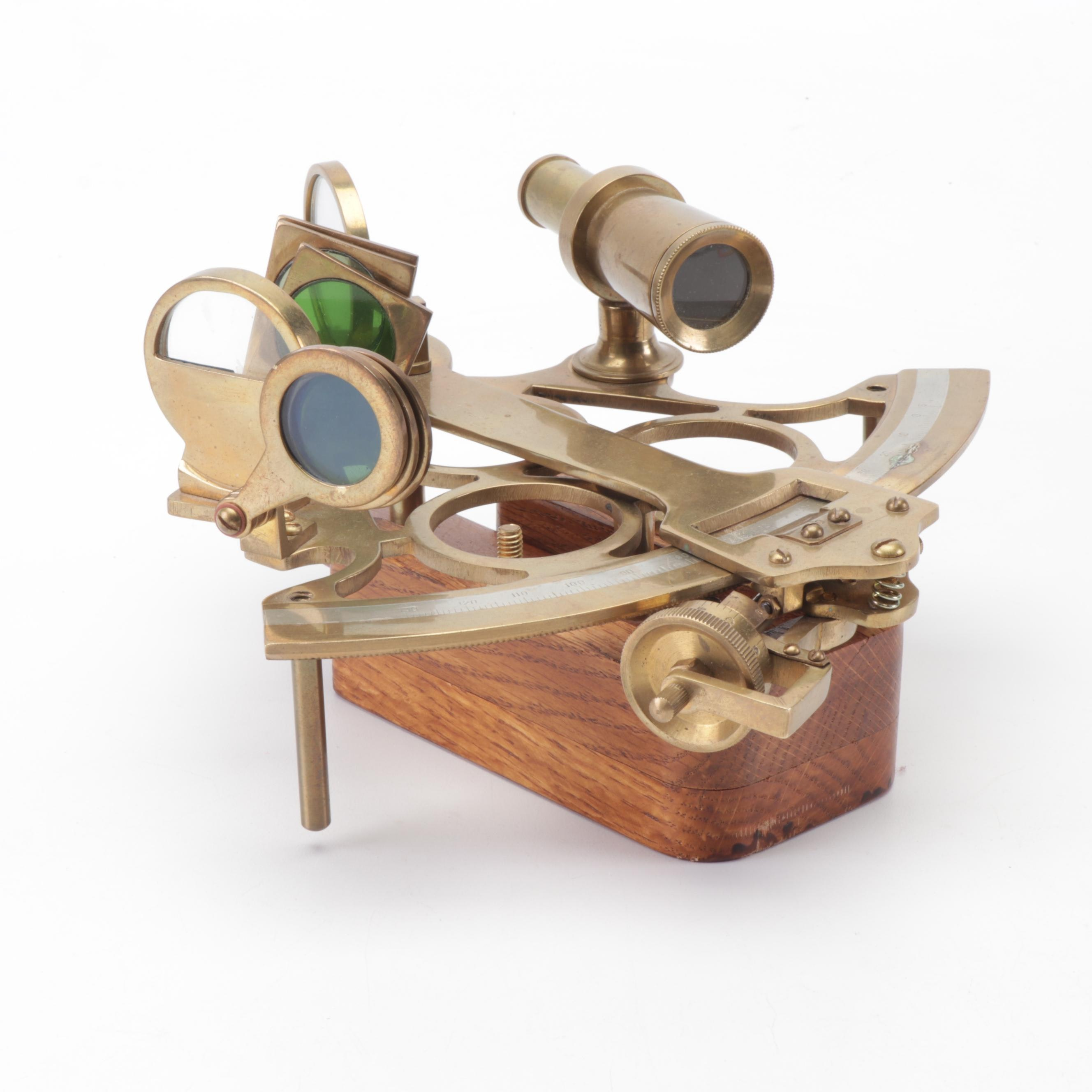 Brass Nautical Sextant with Wooden Stand