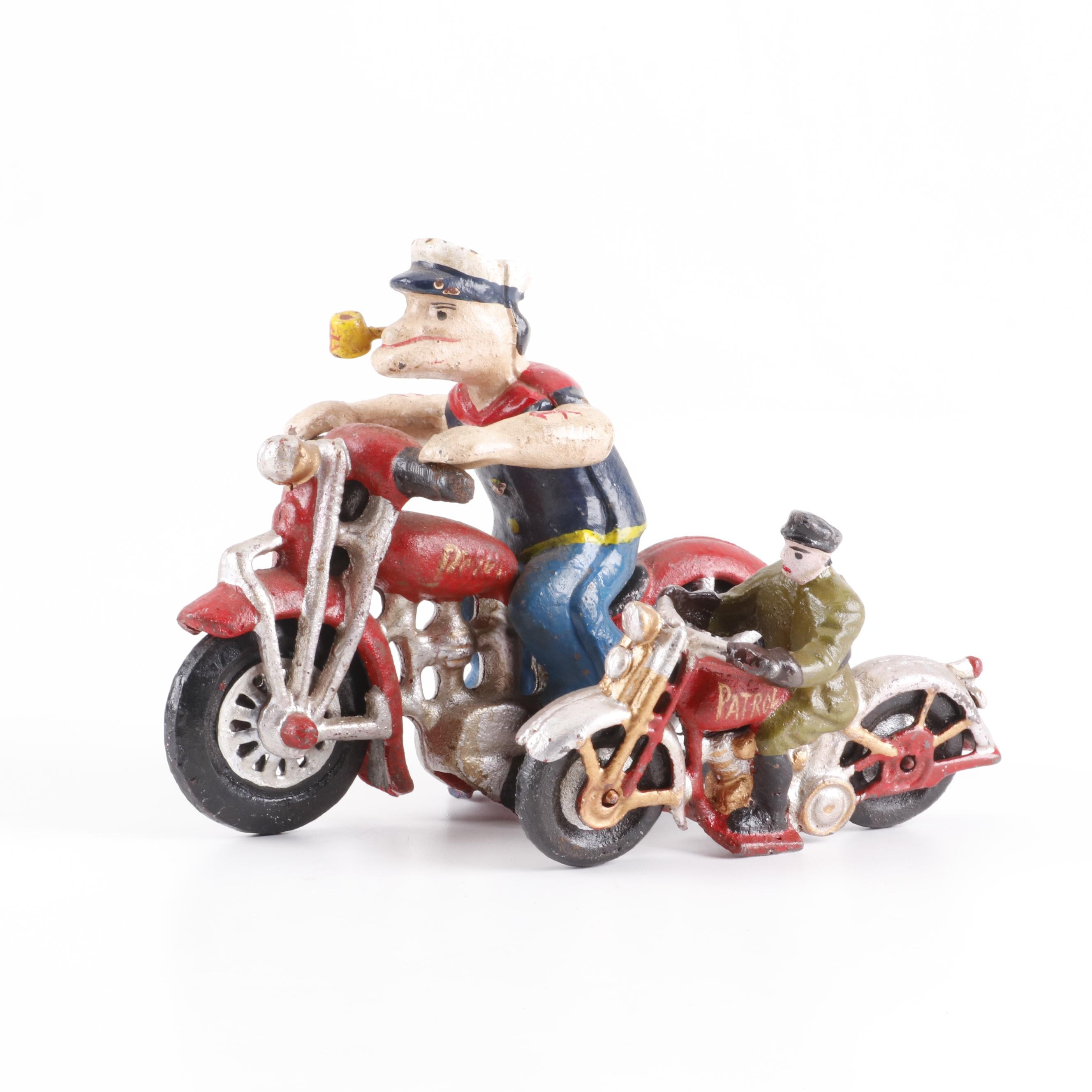 """Reproduction Cast Iron Motorcycle and Rider Figurines with """"Popeye"""" Likeness"""