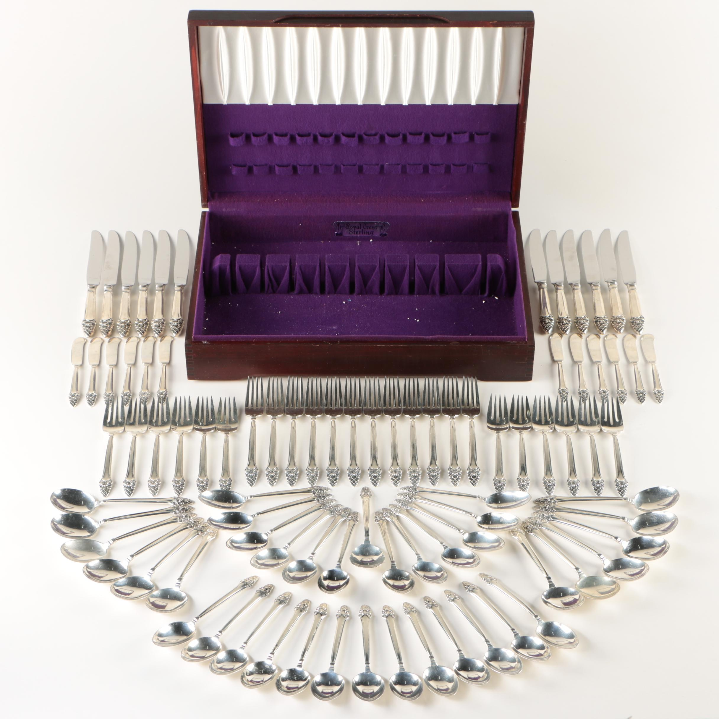 """Gorham """"Sovereign-Old"""" Sterling Silver Flatware Service for Twelve with Chest"""