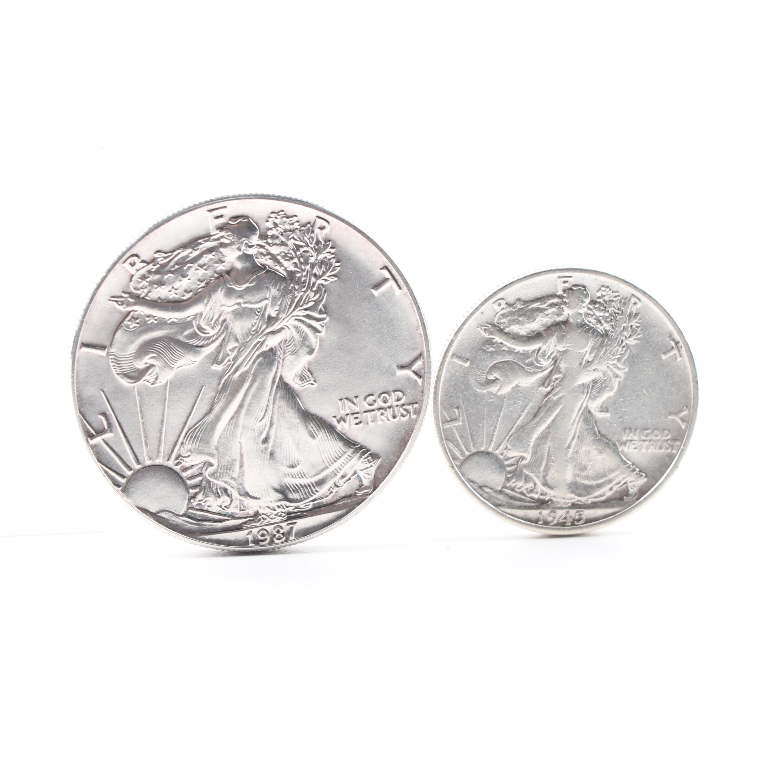 1987 American Silver Eagle Dollar and 1945-S Walking Liberty Silver Half Dollar