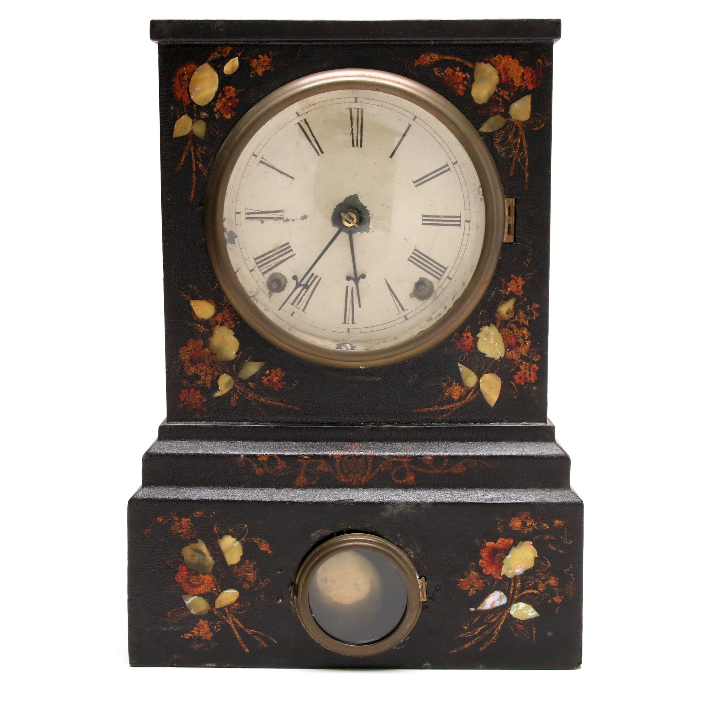 Victorian Papier-mâché and Mother of Pearl Inlaid Shelf Clock, circa 1870