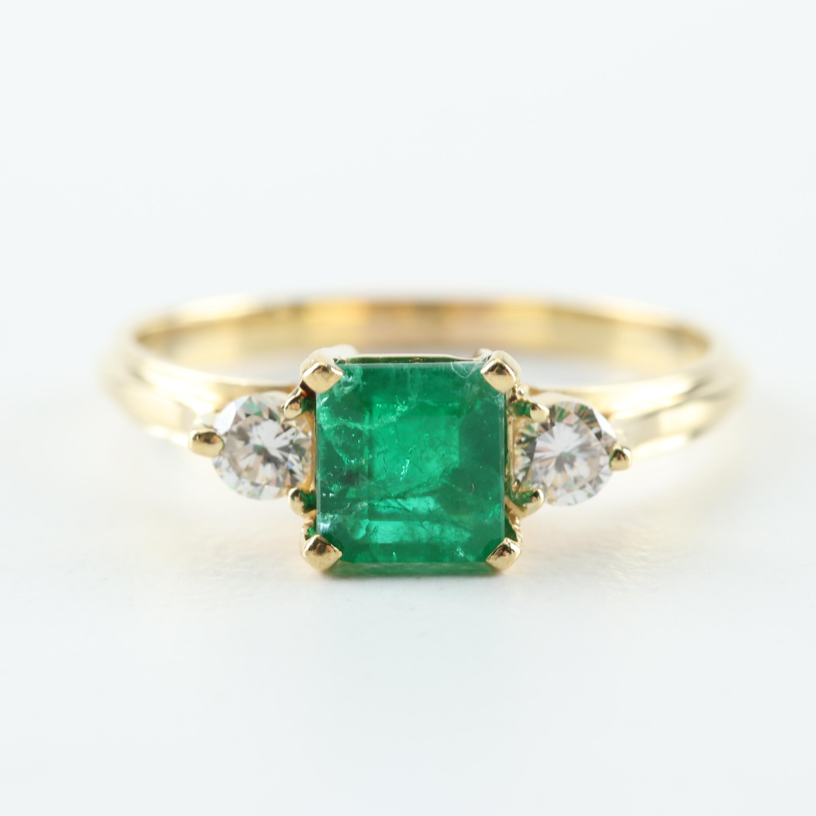 18K Yellow Gold, Emerald, and Diamond Ring
