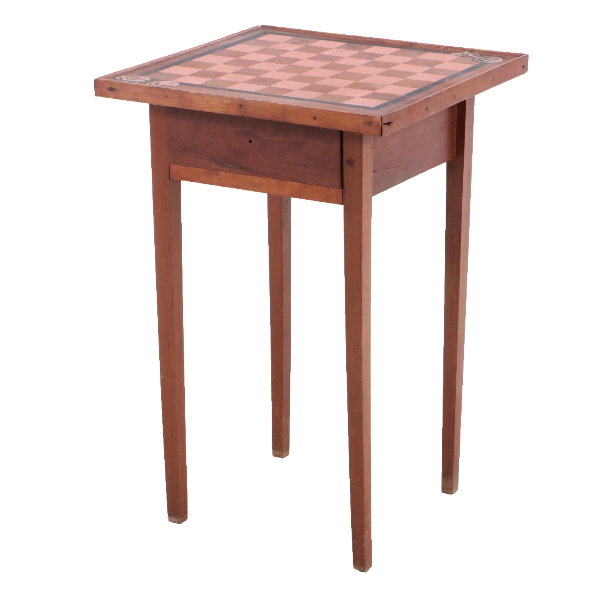 19th-Century Cherry Side Table with Painted Checkerboard Top
