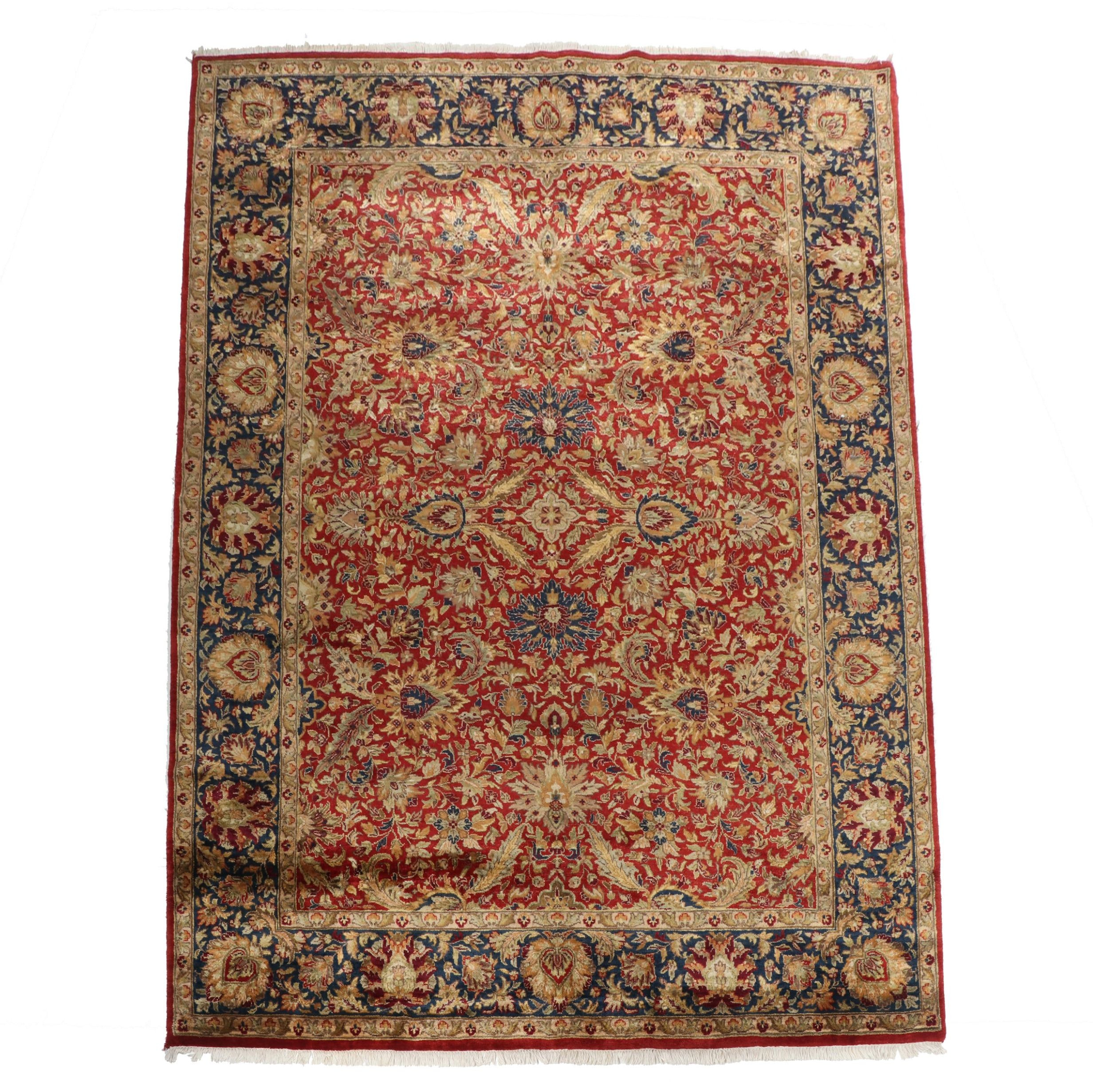 Hand-Knotted Indo-Persian Wool Room Sized Rug