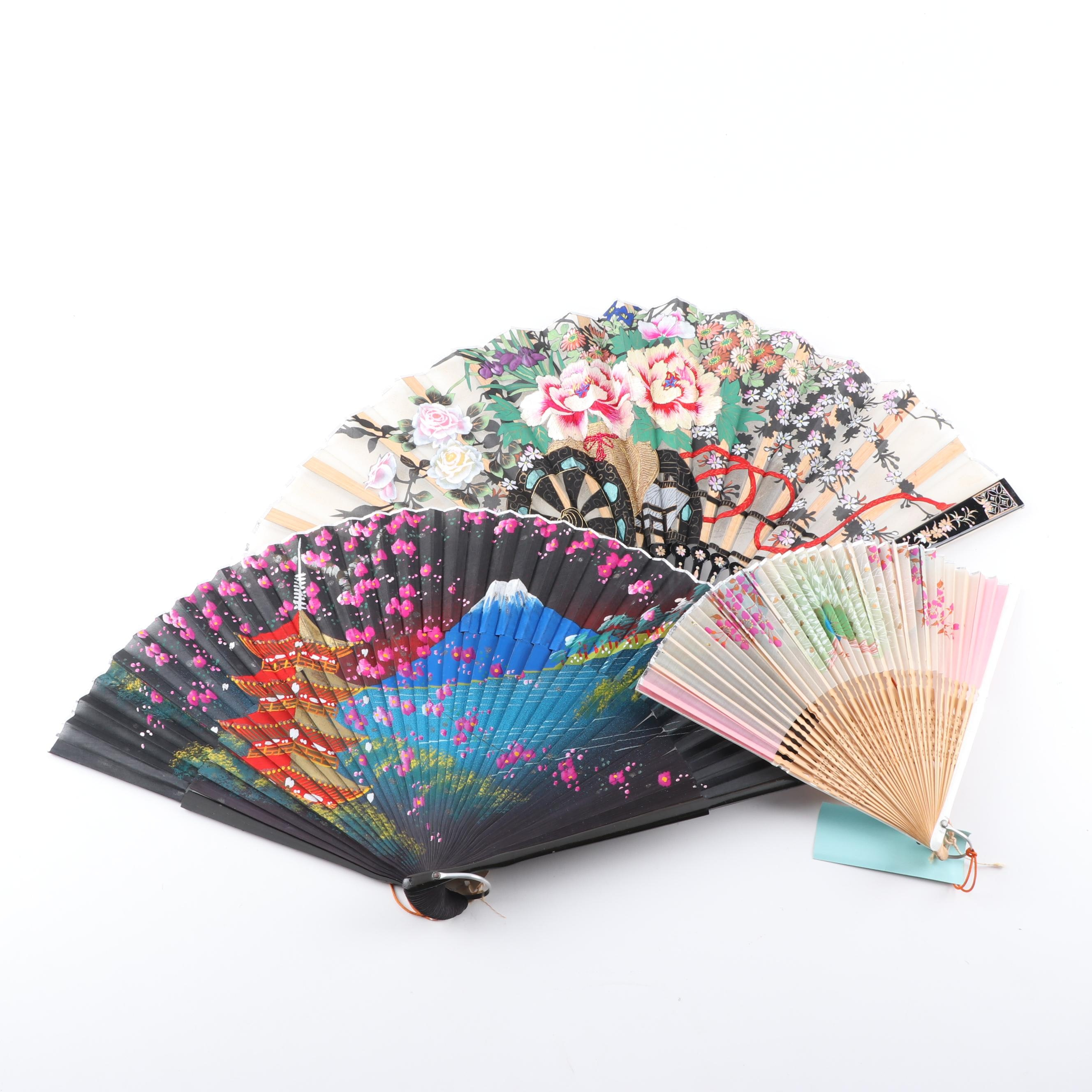 Hand-Painted Folding Fans in Japanese Motifs