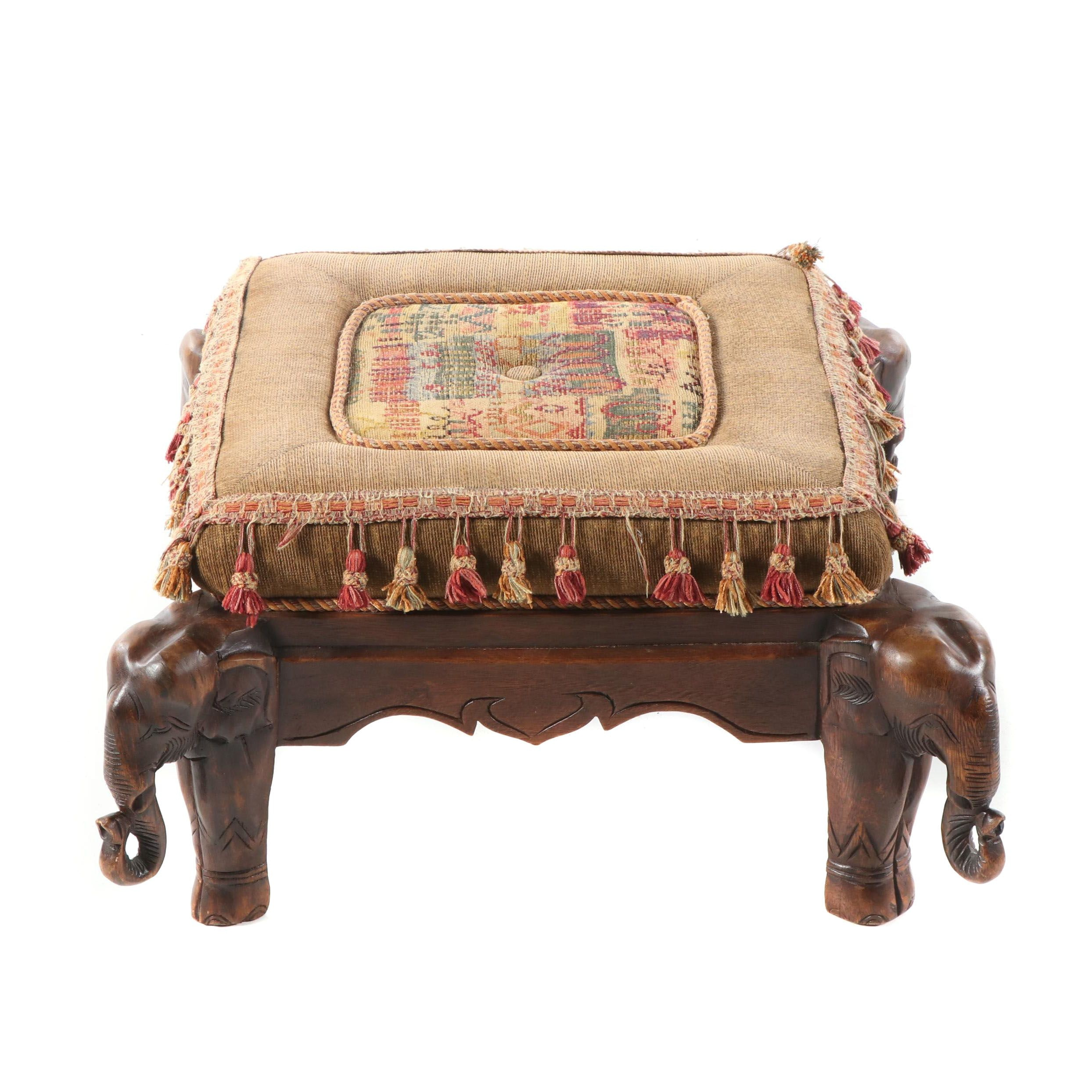 Horchow Elephant's Head Motif Upholstered Oak Ottoman, 20th Century