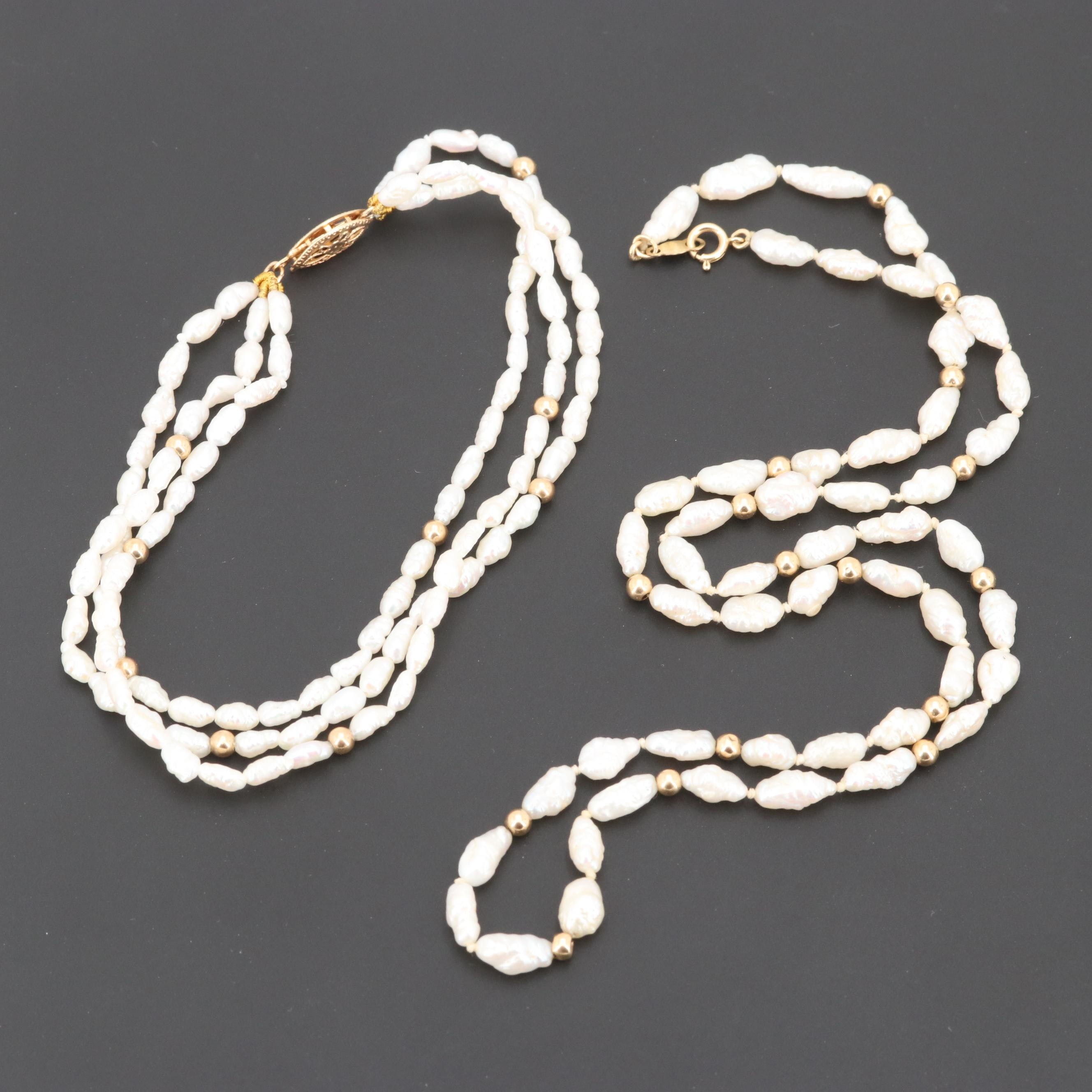 14K Yellow Gold Cultured Barrel Pearl Necklace and Bracelet