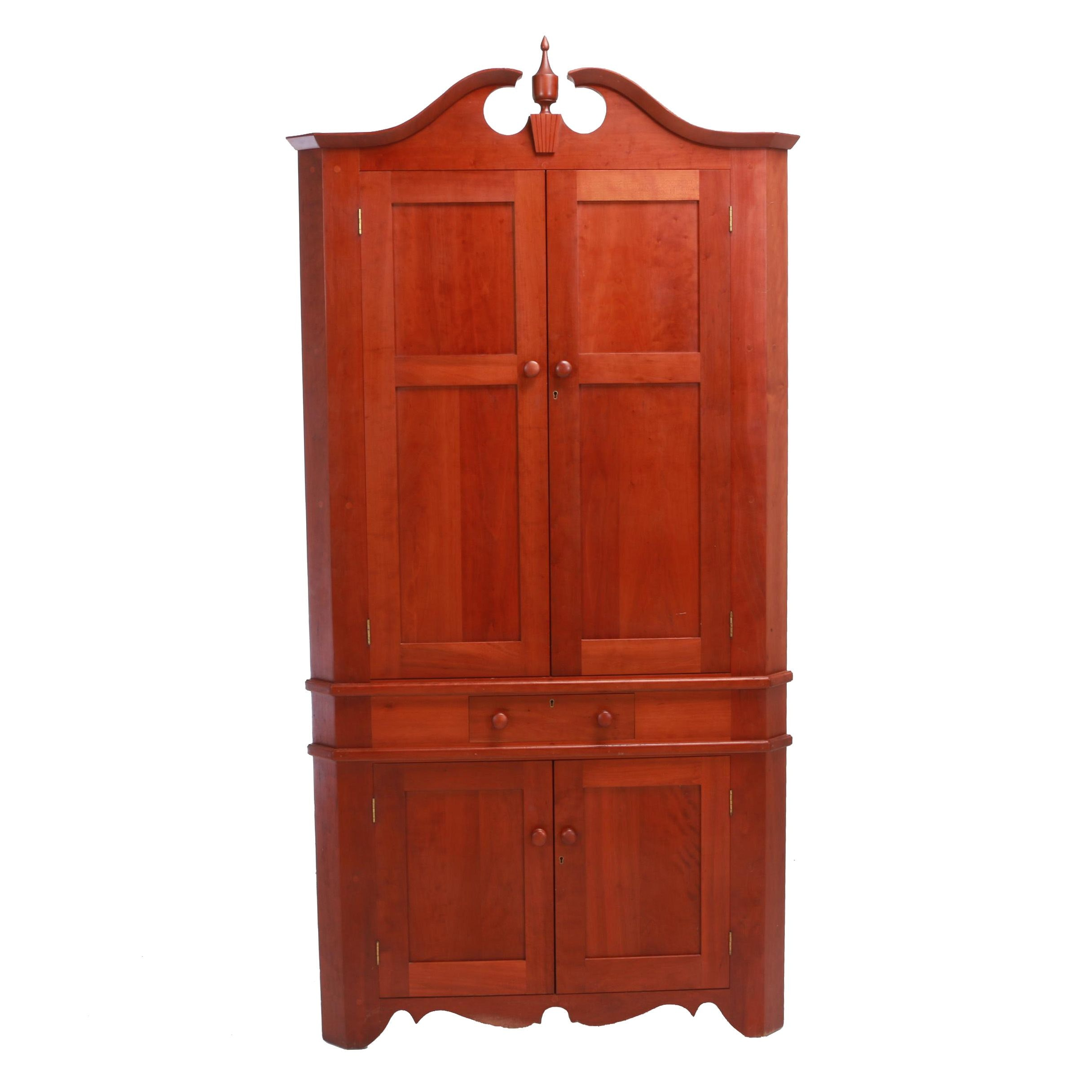 Contemporary Federal Style Cherrywood Bench-Made Corner Cupboard