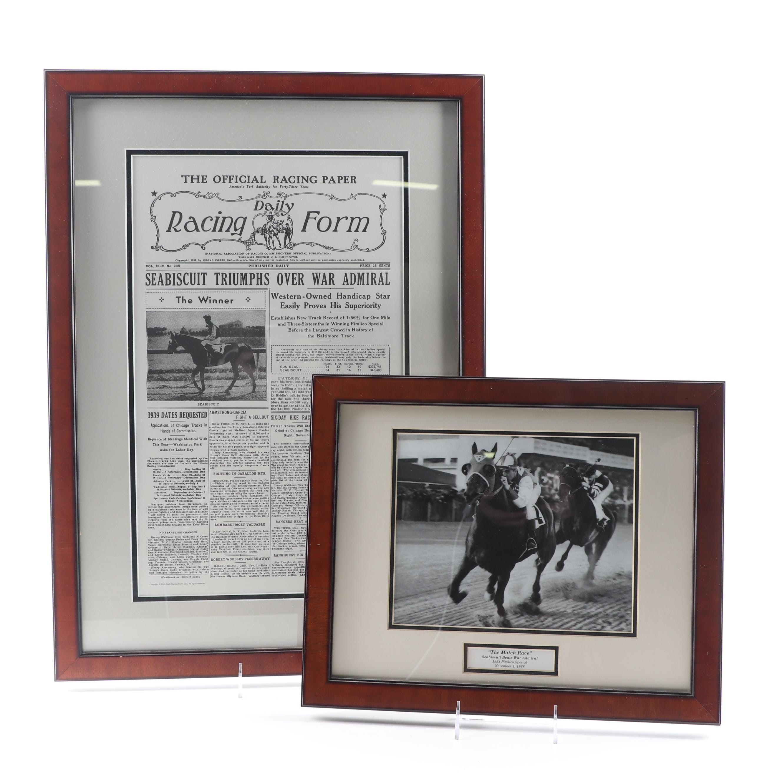 "Photograph of Sea Biscuit ""The Match Race"" and ""Daily Racing Form"""