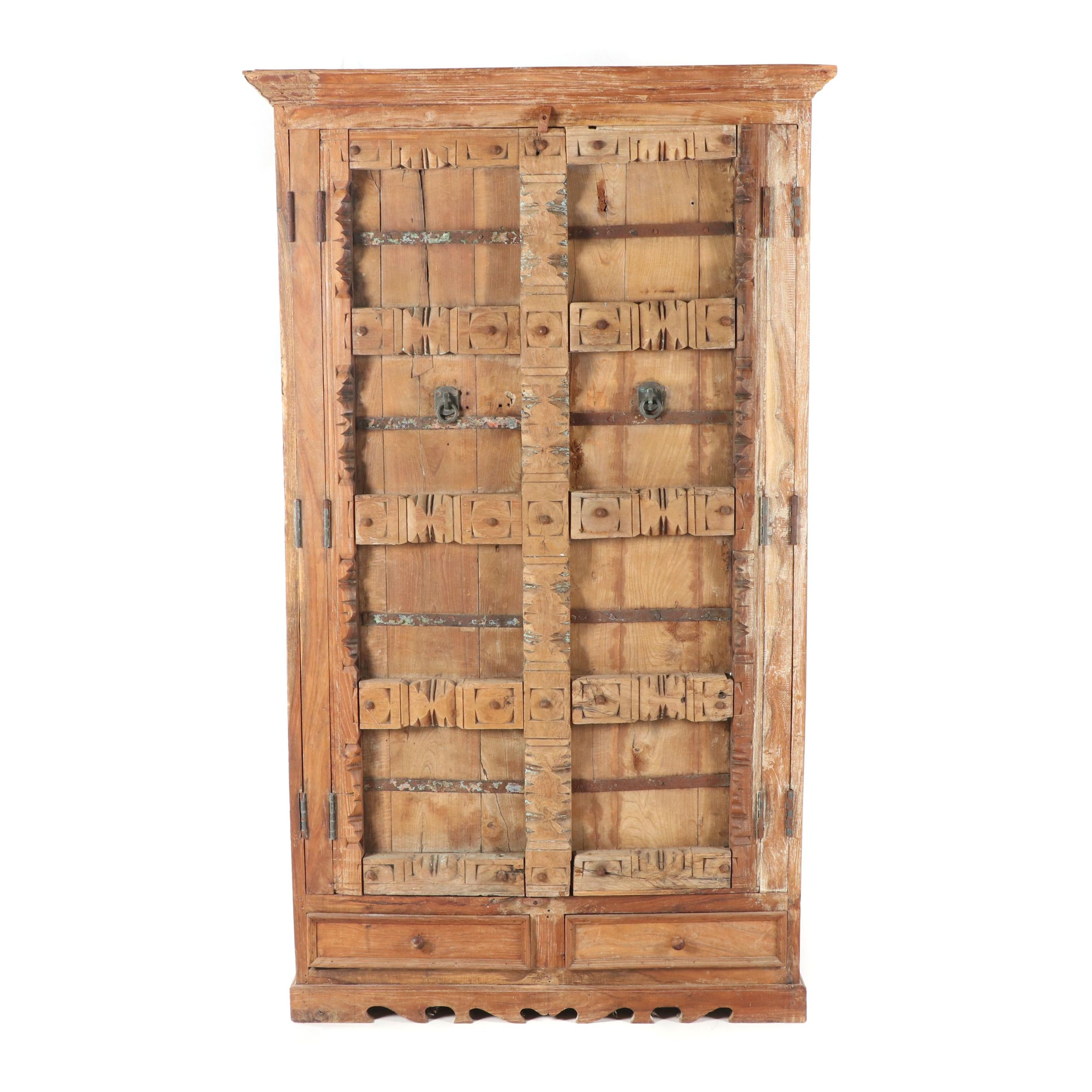 Mixed Woods Repurposed Door and Panel Cabinet, 20th Century