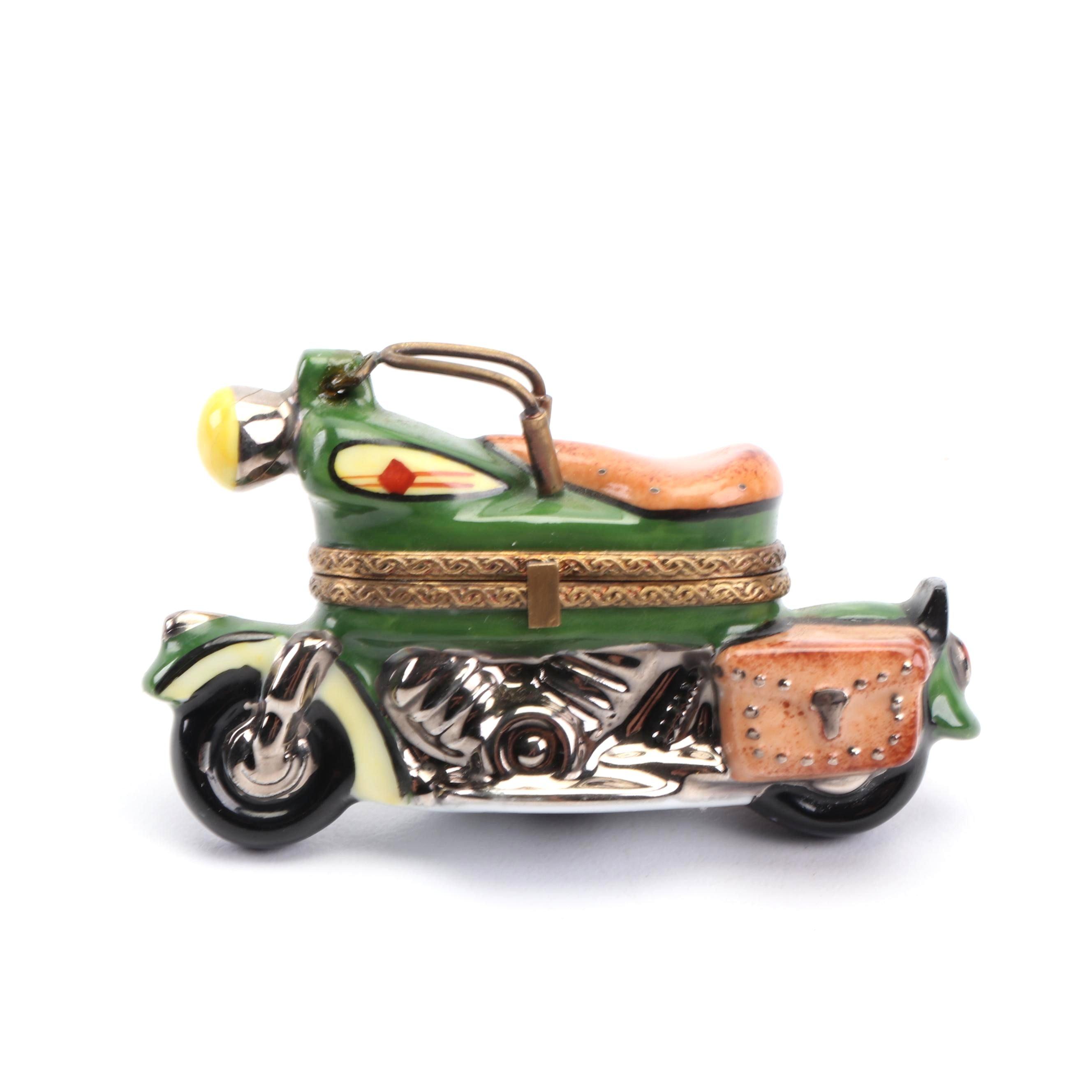 La Gloriette Limoges Hand-Painted Porcelain Motorcycle Shaped Trinket Box
