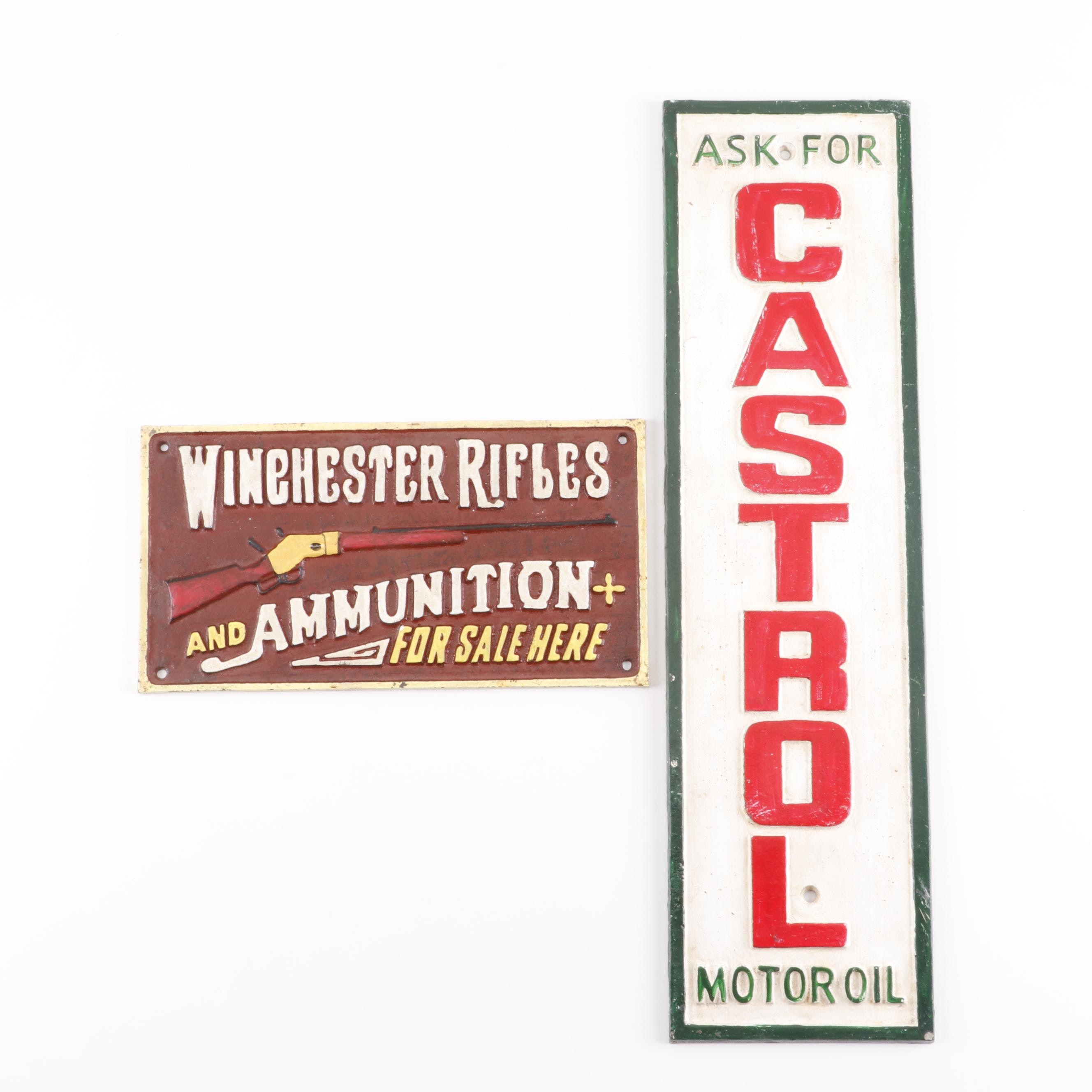 Cast Iron Reproduction Store Signs including Castrol Motor Oil
