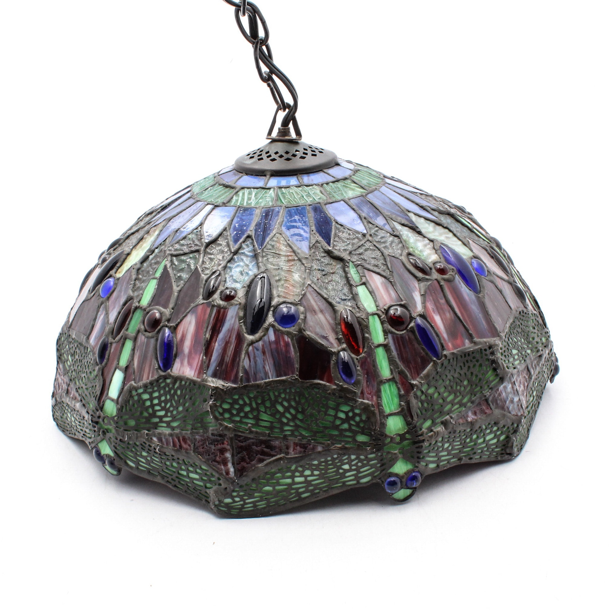 Tiffany Style Dragonfly Motif Stained Slag Glass Hanging Light Fixture