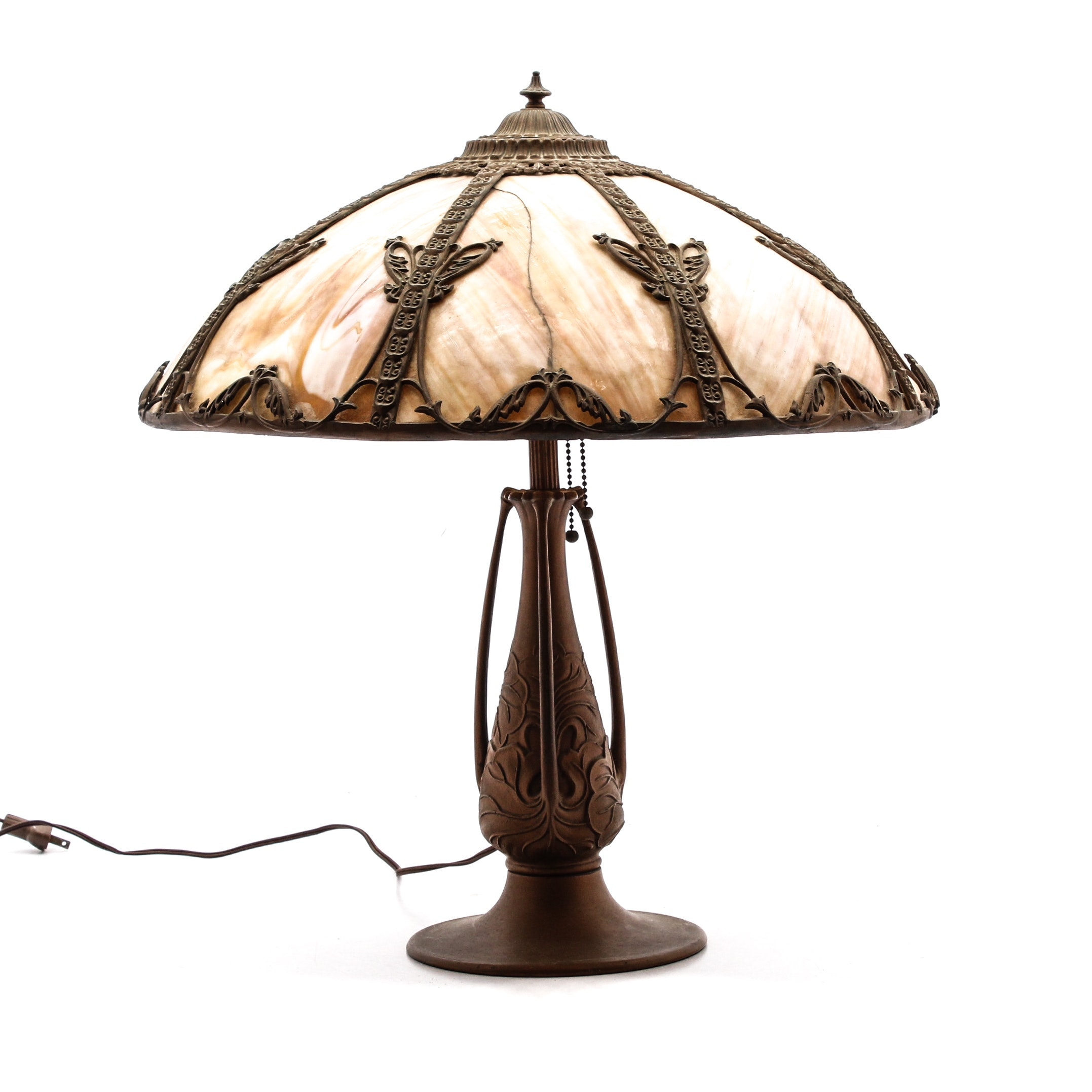 Art Nouveau Table Lamp with Slag Glass Shade, circa 1900, After Miller