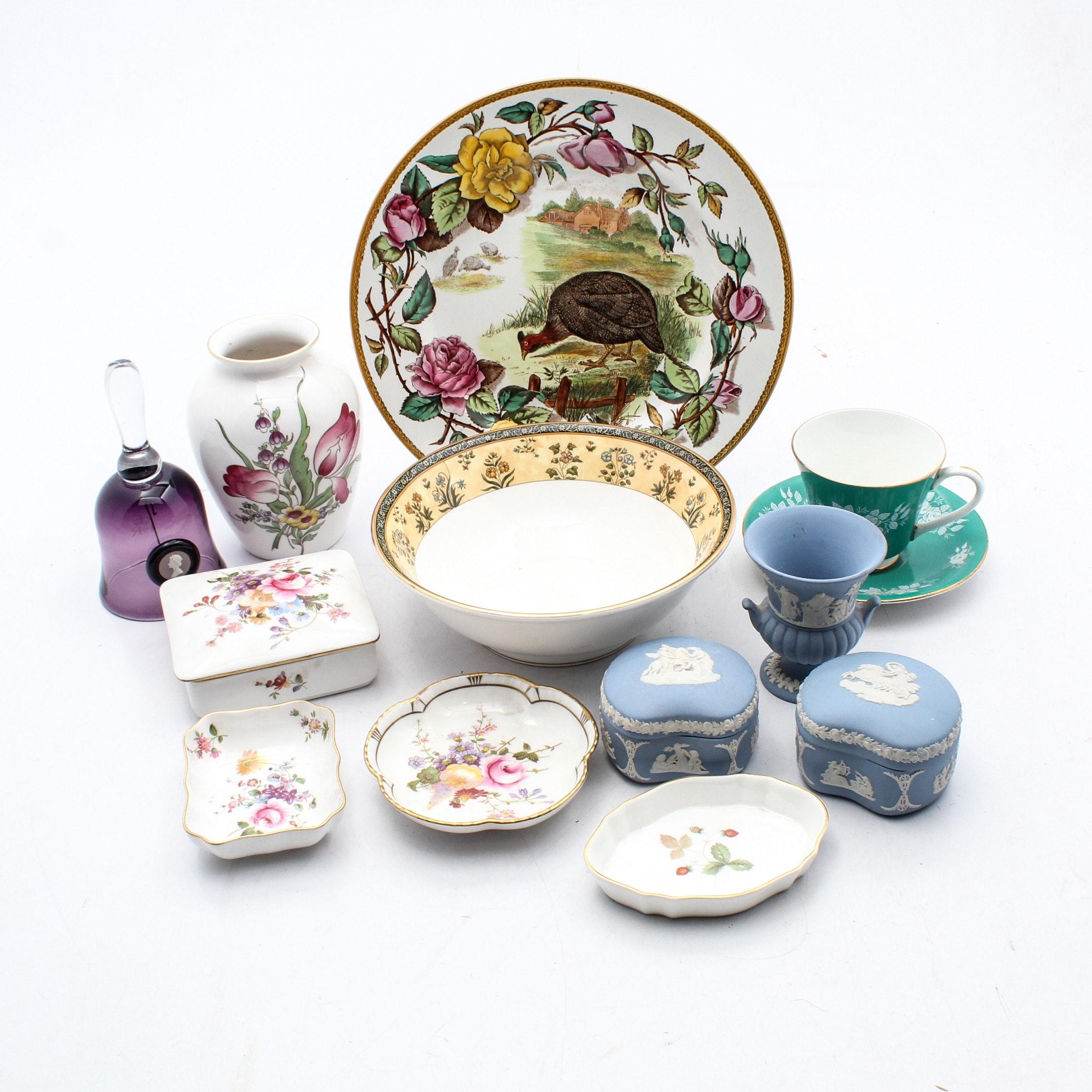English Bone China and Jasperware Featuring Wedgwood, Royal Doulton and Spode