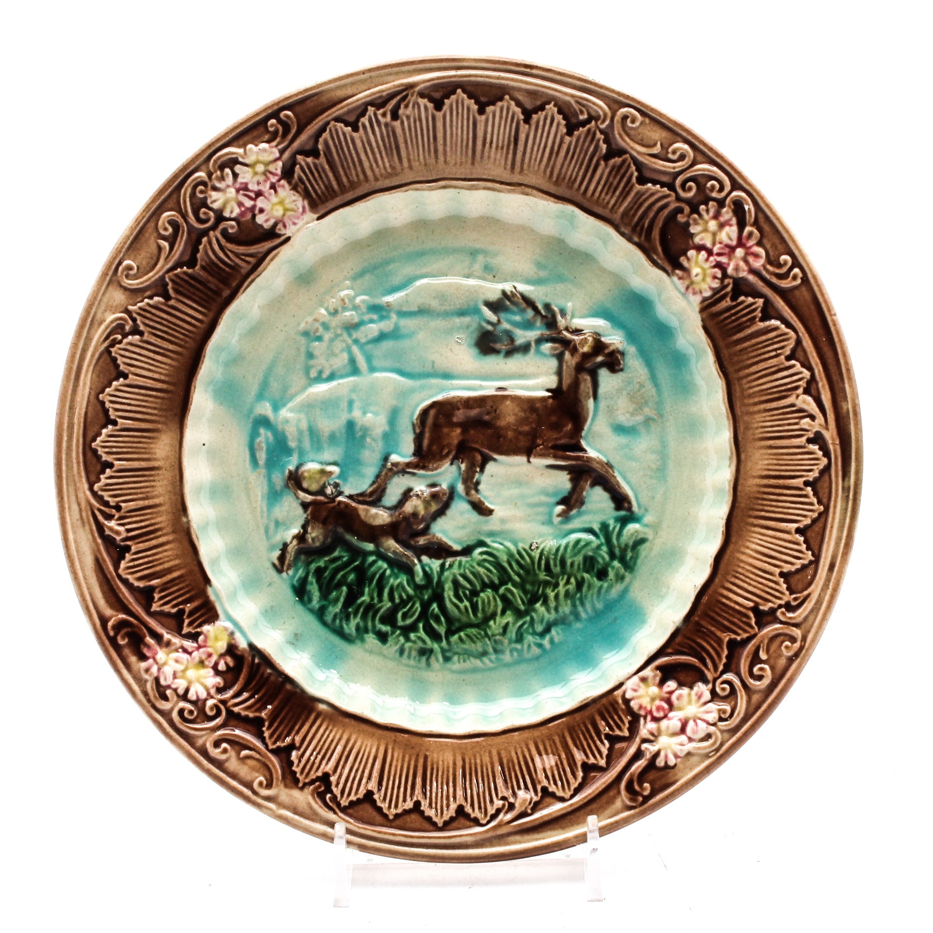 Majolica Arsenal Factory Style Deer and Dog Plate