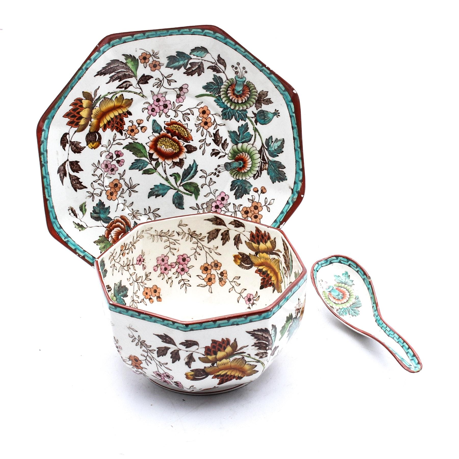 """Antique Wedgwood """"Tonquin Multicolor Octagonia"""" Soup Bowl Set"""