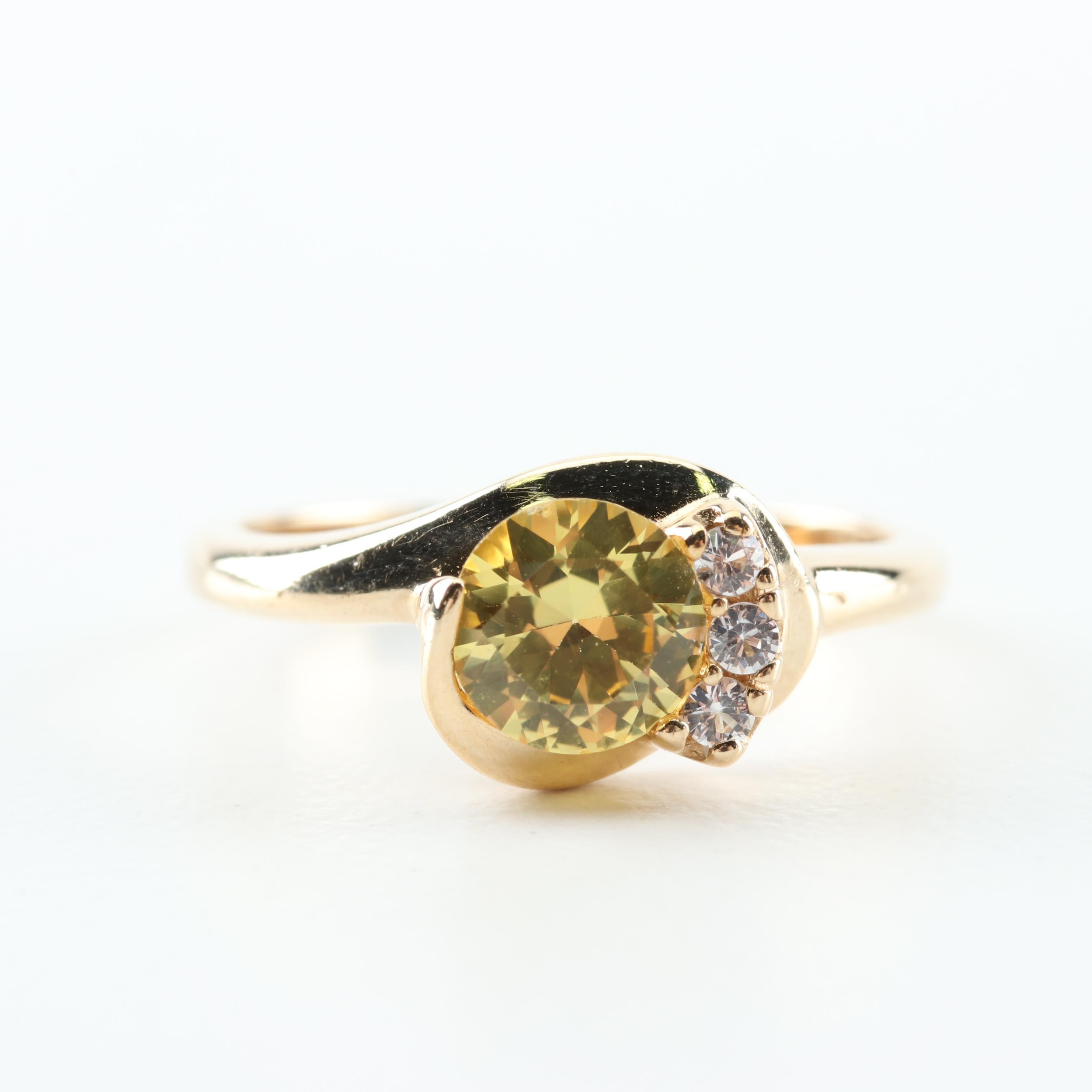 10K Yellow Gold, Synthetic Sapphire, and Cubic Zirconia Ring