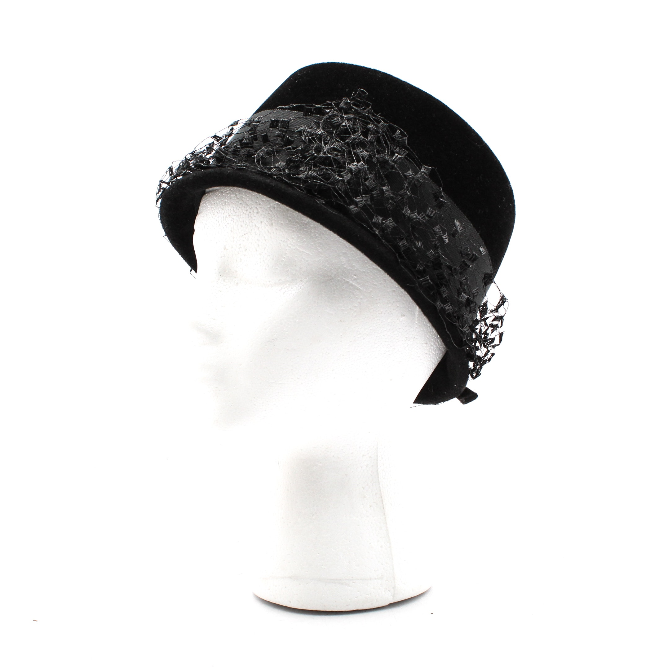 Black Felt Cloche Hat with Netting, Mid-20th Century Vintage