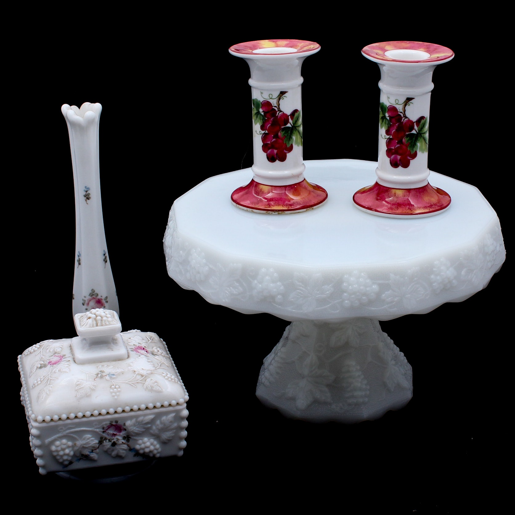 Milk Glass with Grape Motif Featuring Royal Doulton and Westmoreland