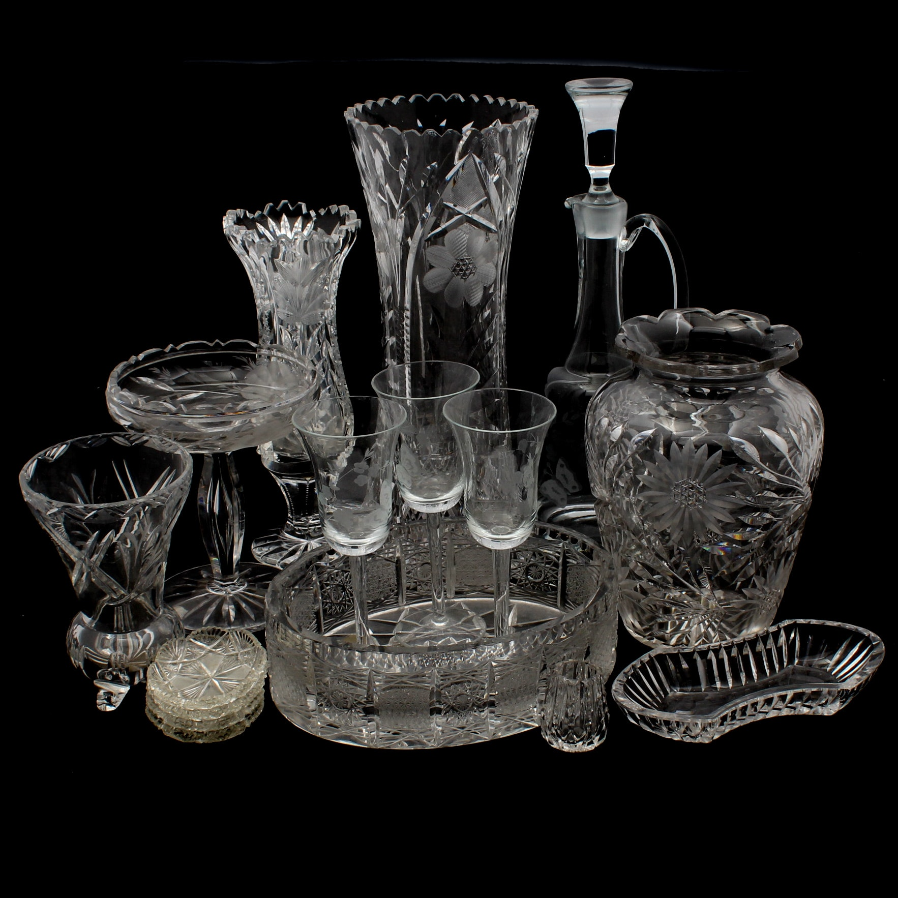 Cut and Etched Glass Vases, Decanter, Stemware and Bowls Featuring Hawkes