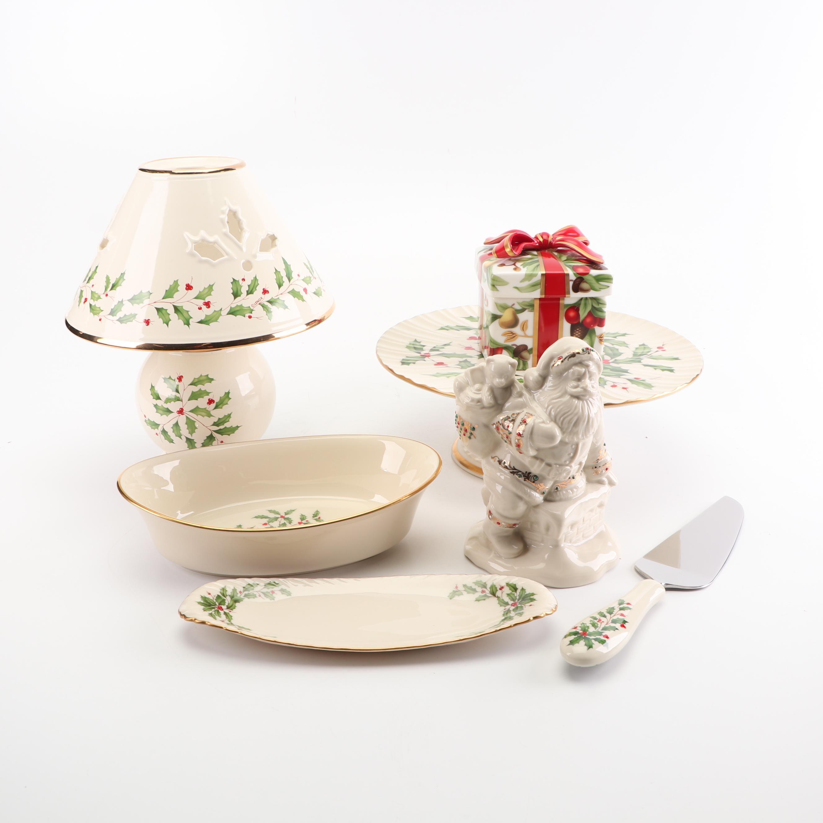 "Lenox ""Holiday"" Porcelain Serveware with Tiffany & Co. Covered Box"