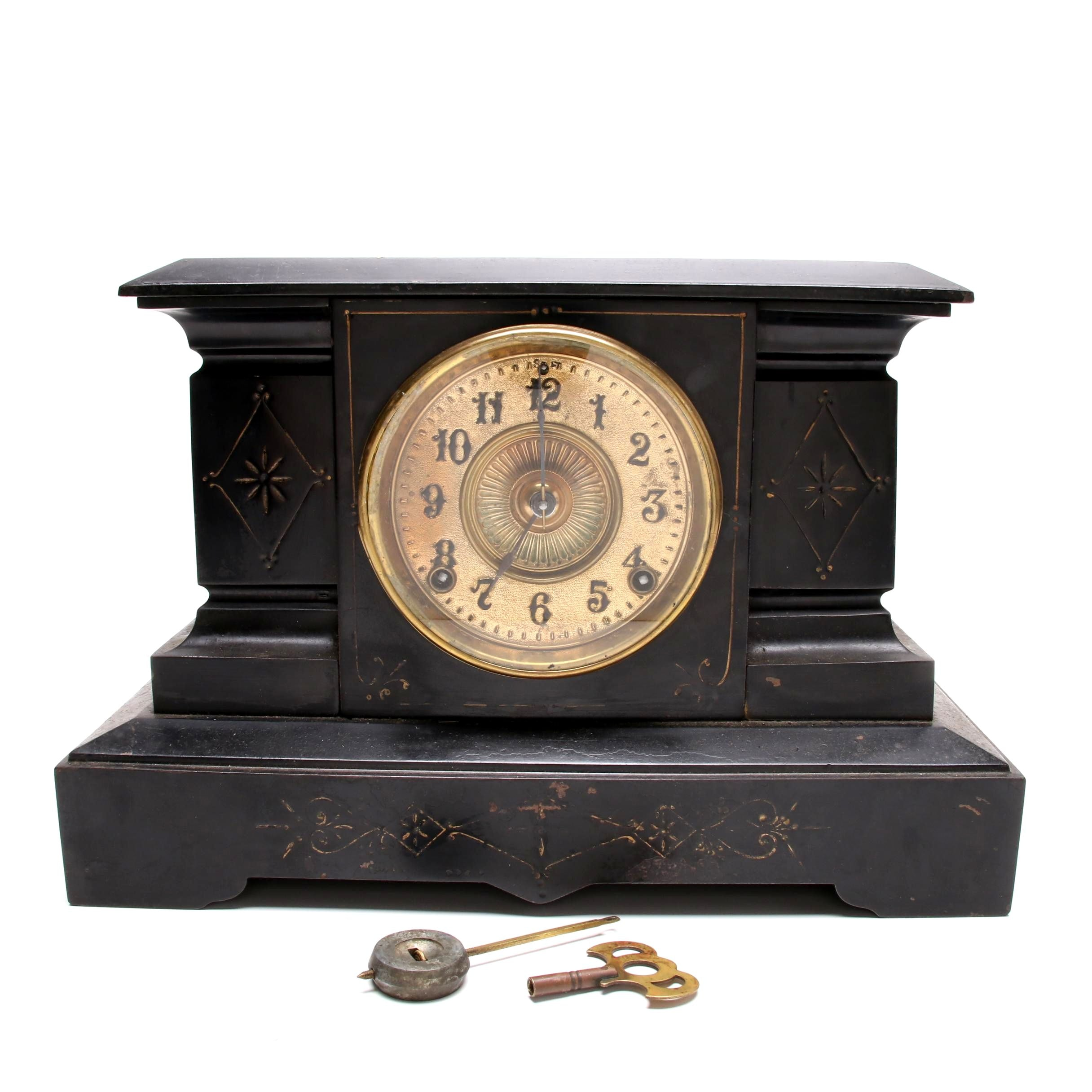 Ansonia Honed Slate Mantel Clock, Late 19th to Early 20th Century