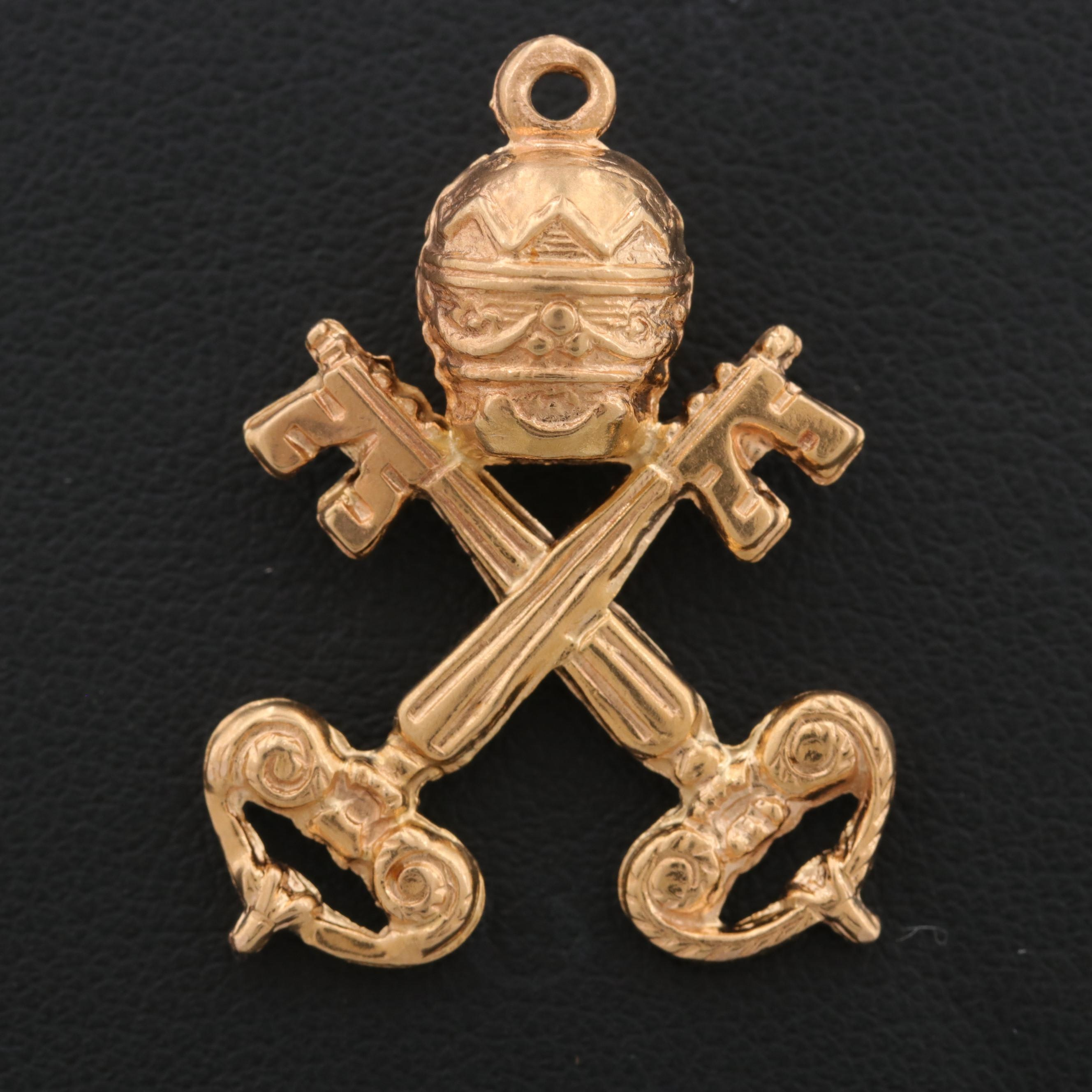 18K Yellow Gold Electroform Papal Crossed Keys and Crown Pendant