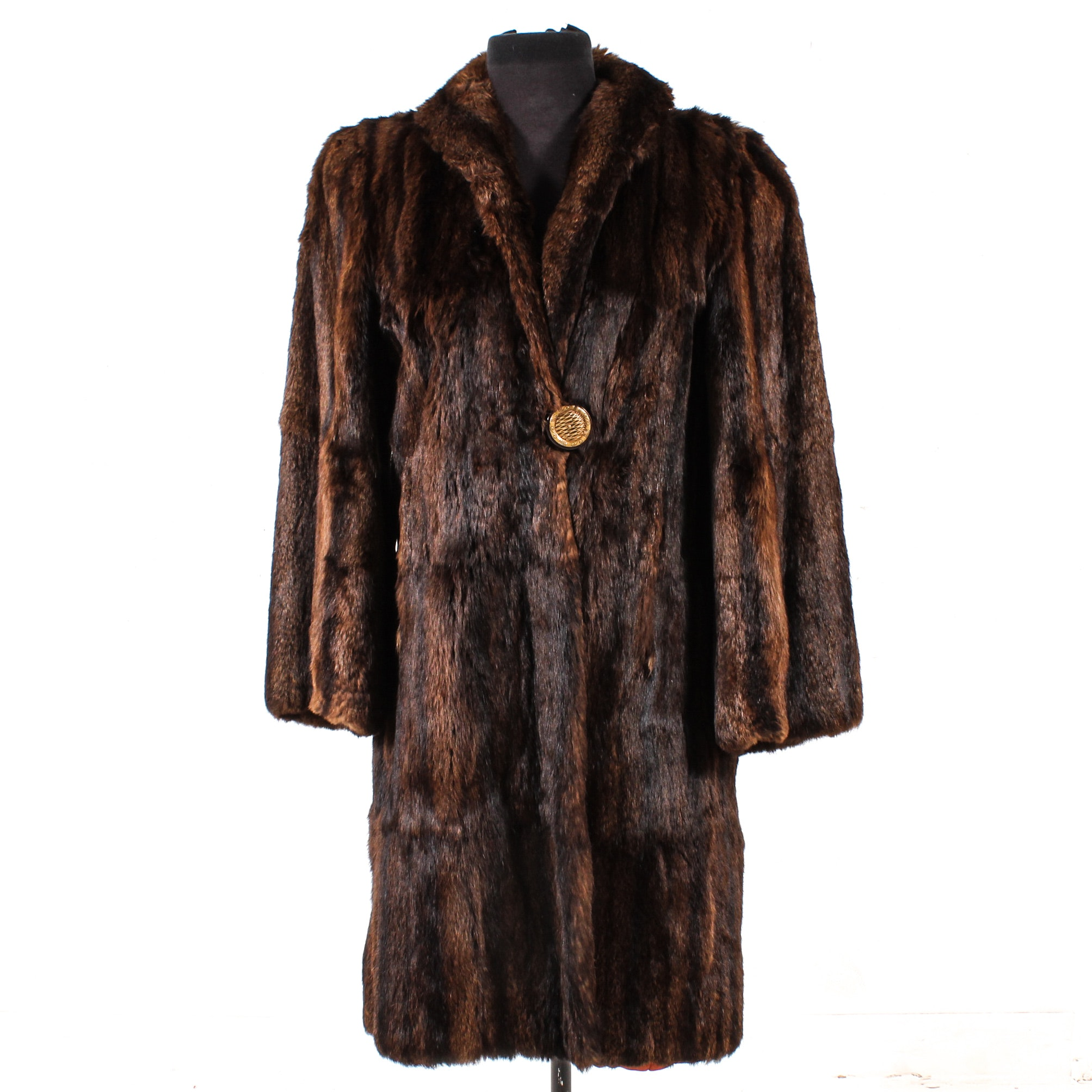 Dyed Mahogany Muskrat Fur Coat, Mid-20th Century Vintage