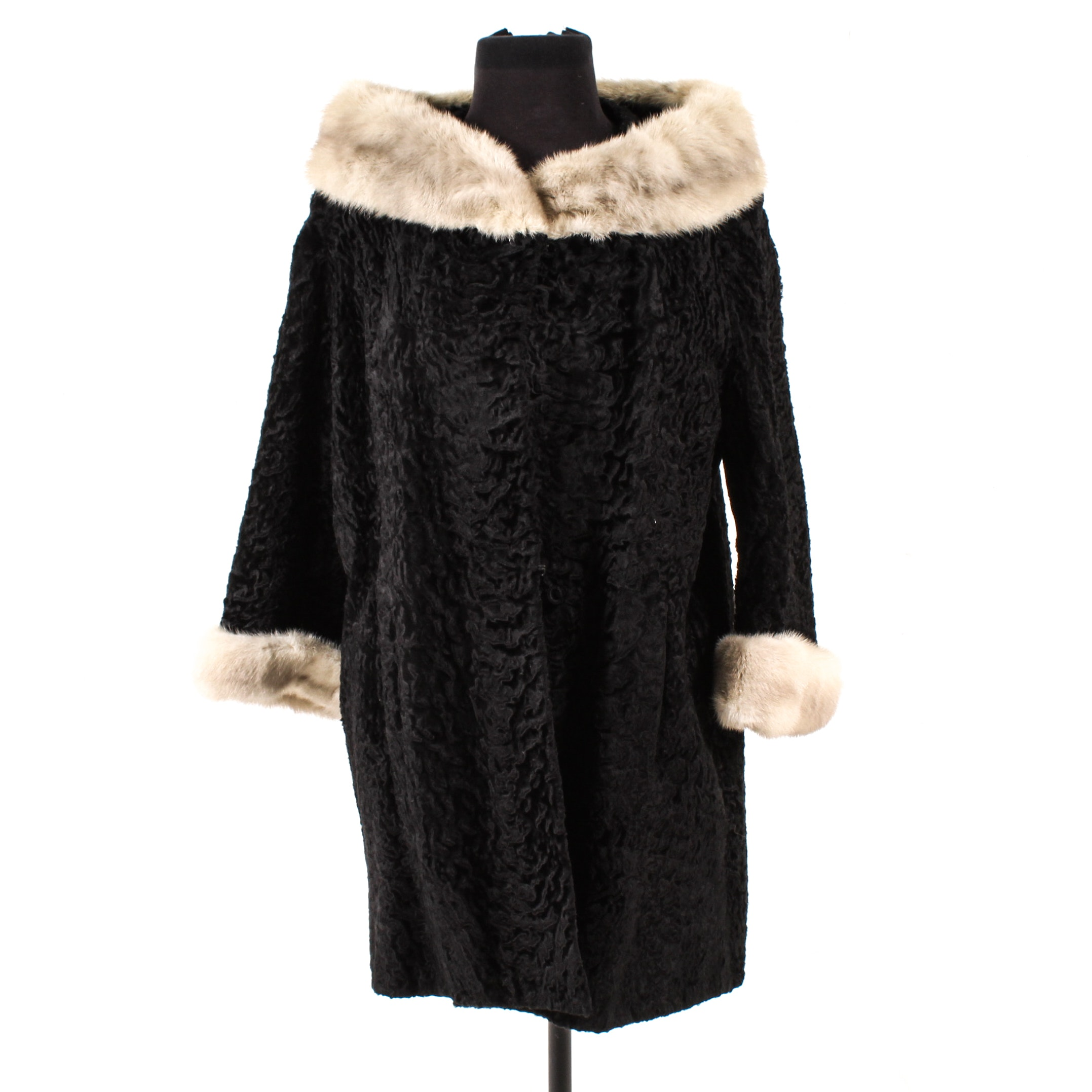 Black Broadtail Lamb Fur Coat with Mink Fur Trim, Mid-20th Century Vintage