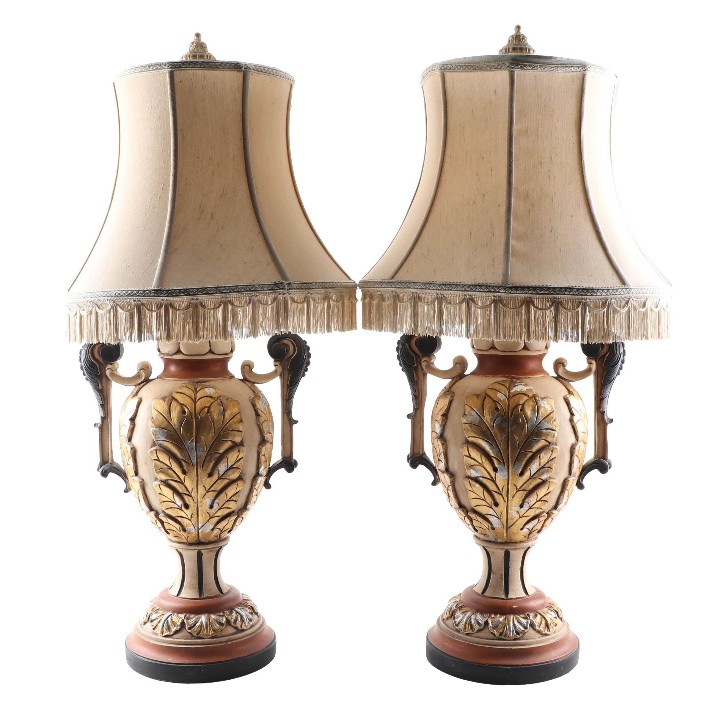 Chelsea House Acanthus Motif Amphora Form Table Lamps
