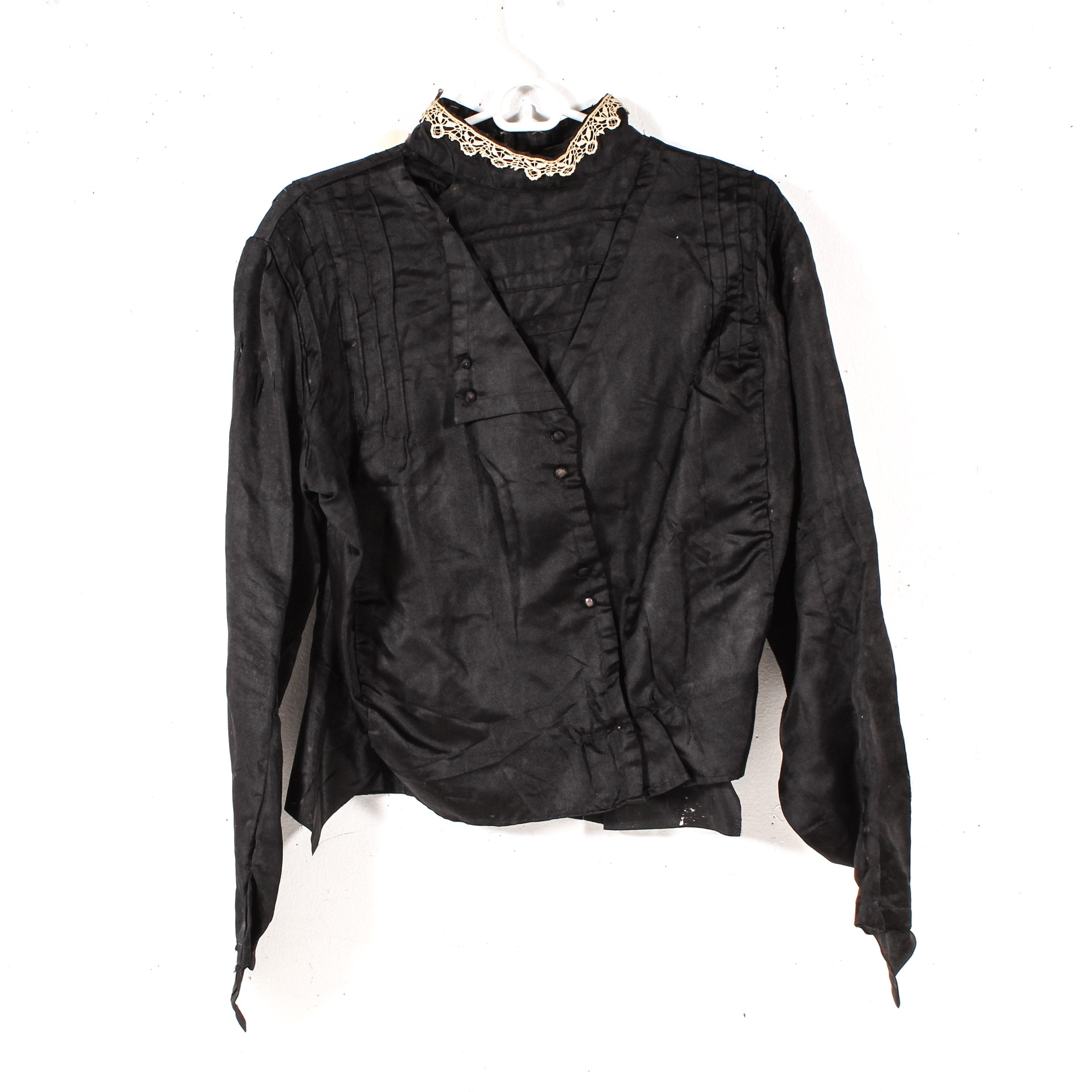 Women's Edwardian Style Black Blouse with Lace Collar