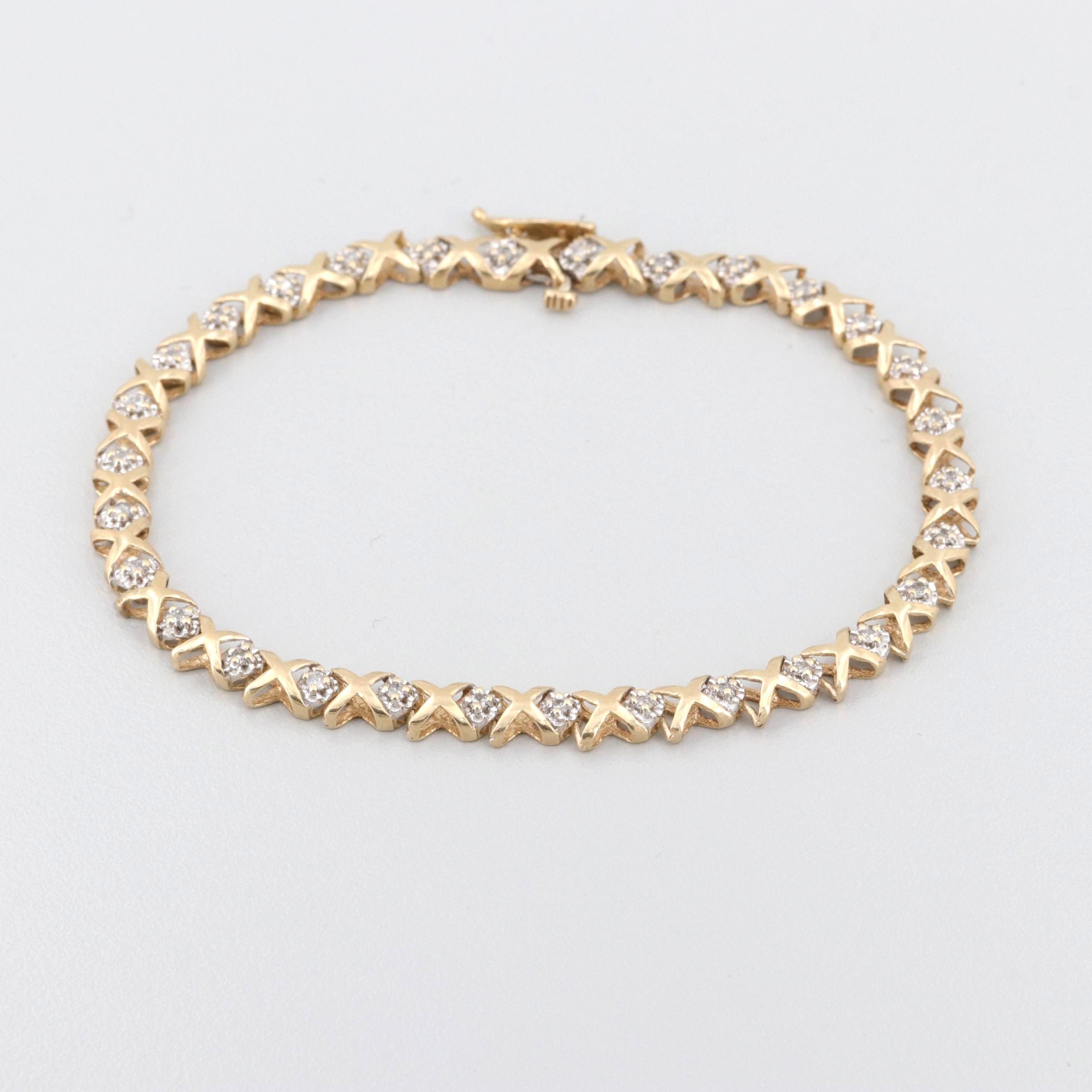 10K Yellow and White Gold Diamond X-Link Tennis Bracelet