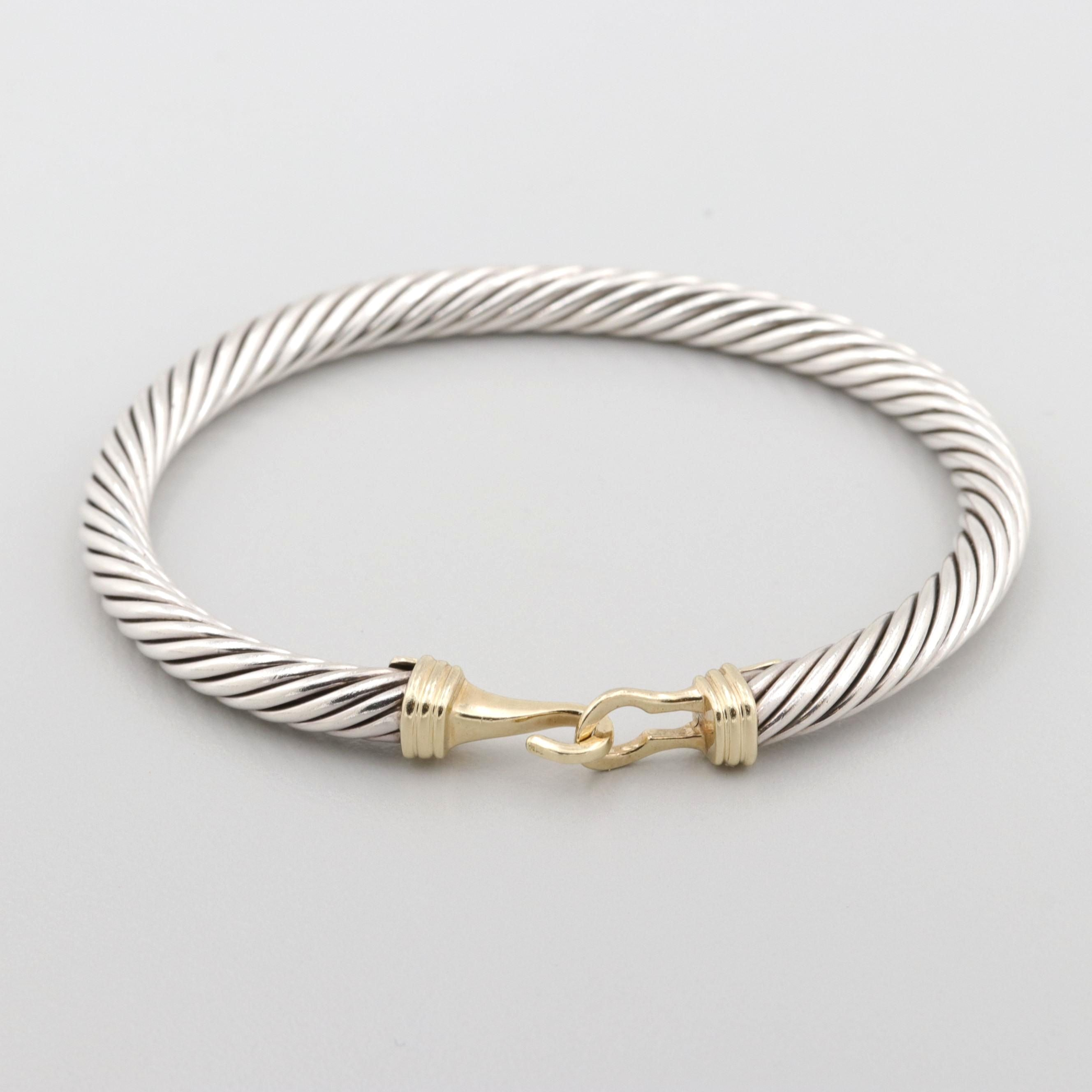 """David Yurman Sterling """"Classic Cable"""" Bracelet with 14K Yellow Gold Accents"""