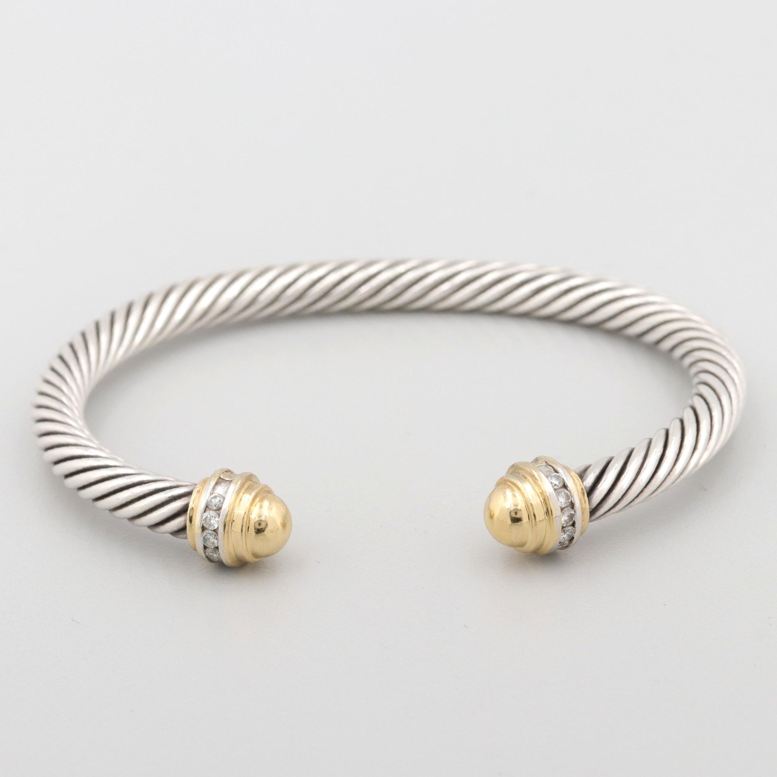 David Yurman Sterling Silver and 18K Yellow Gold Diamond Classic Cable Bracelet