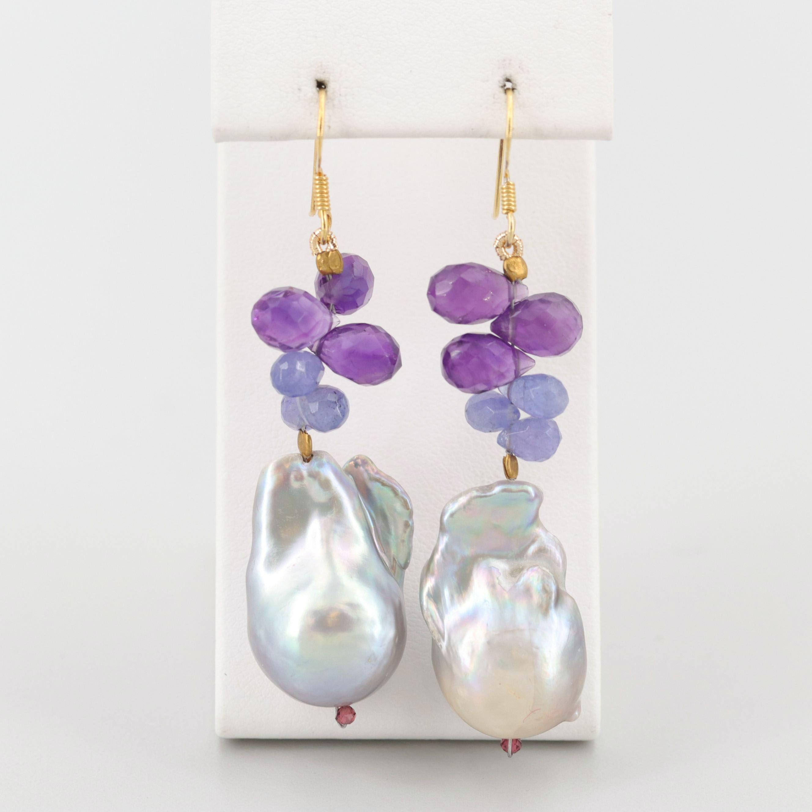 Gold Wash on Sterling Silver Multi-Gem Dangle Earrings