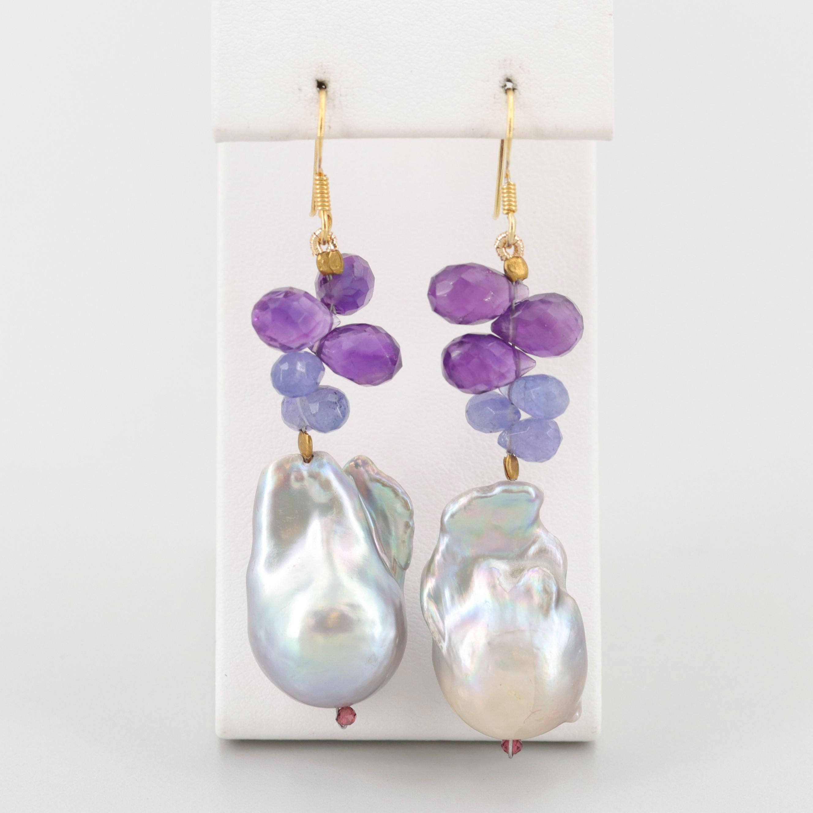 Gold Wash on Sterling Silver Multi-Gem Dangle Earrings