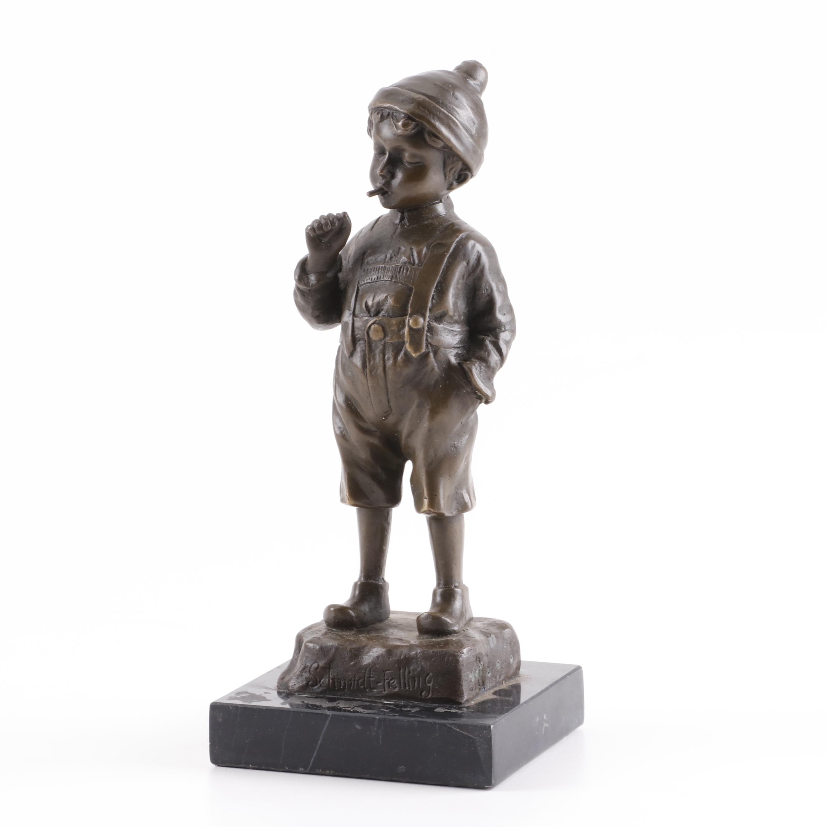 """Julius Paul Schmidt-Felling Bronze Sculpture """"The Young Smoker"""""""