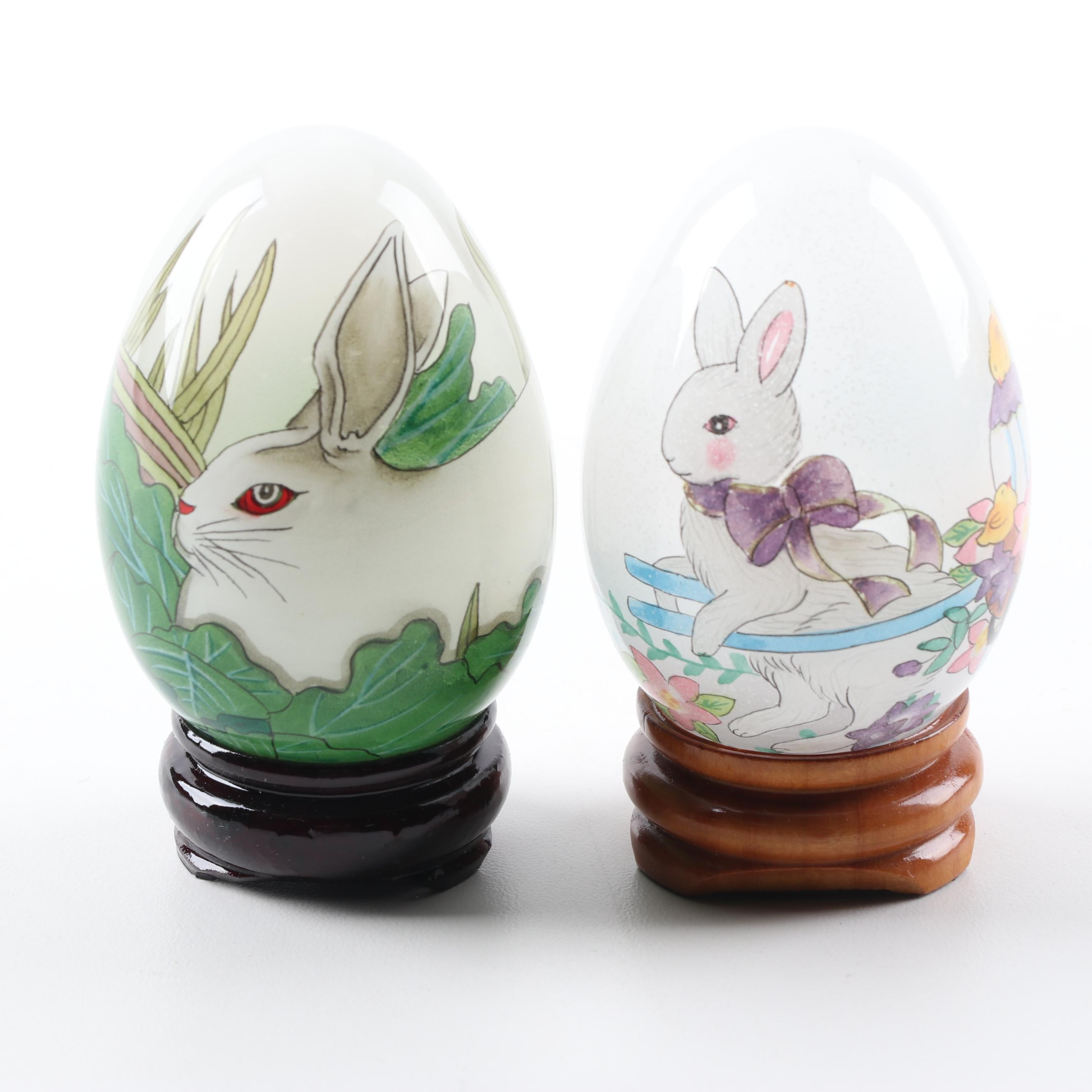 """Midwest of Cannon Falls Rabbit Themed """"Inside-Painted"""" Glass Eggs"""