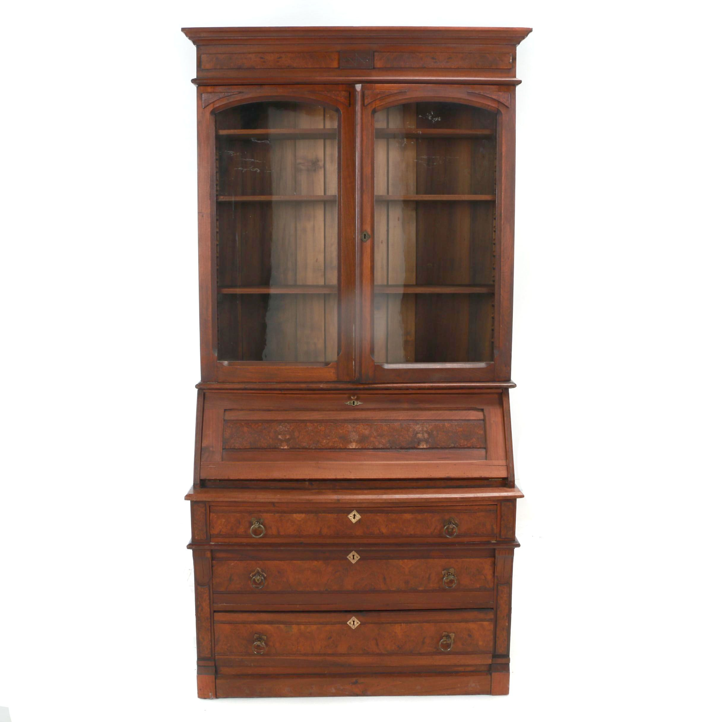 Victorian Walnut and Burl Walnut Secretary Bookcase, Late 19th Century