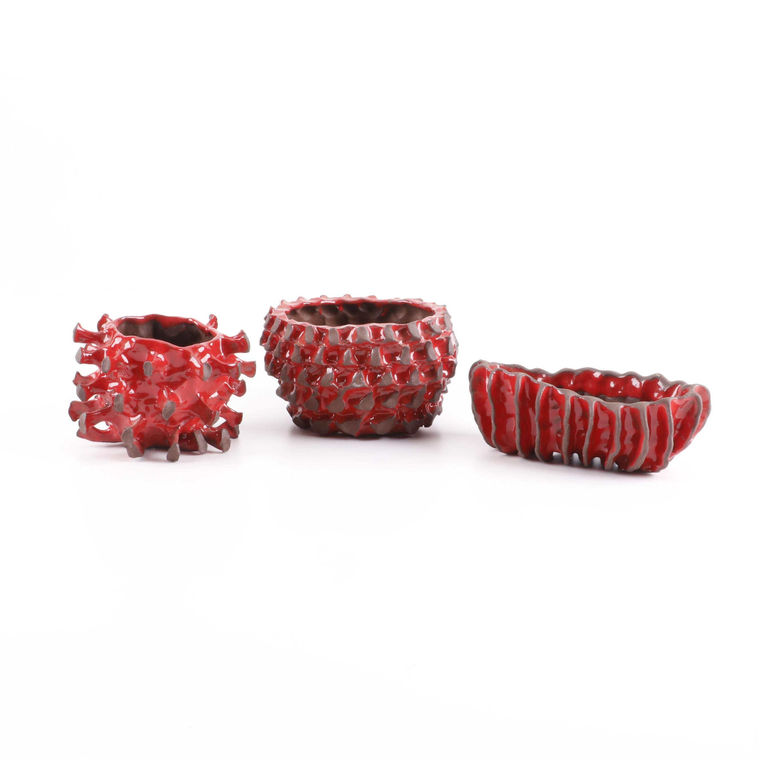 Mike Cone Red Glazed Textured Stoneware Planters (Attributed)