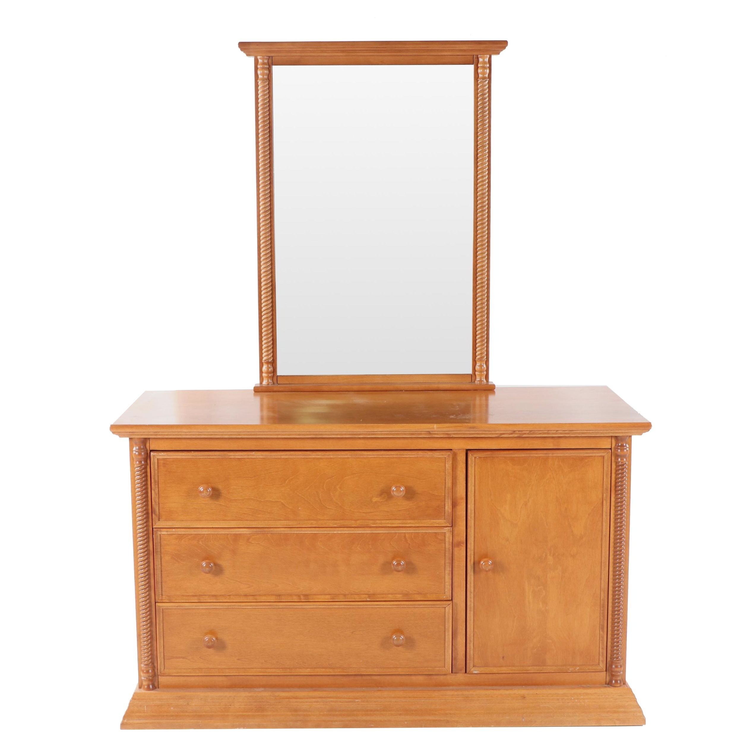 Federal Style Maple Dresser and Mirror by Bellini, 21st Century