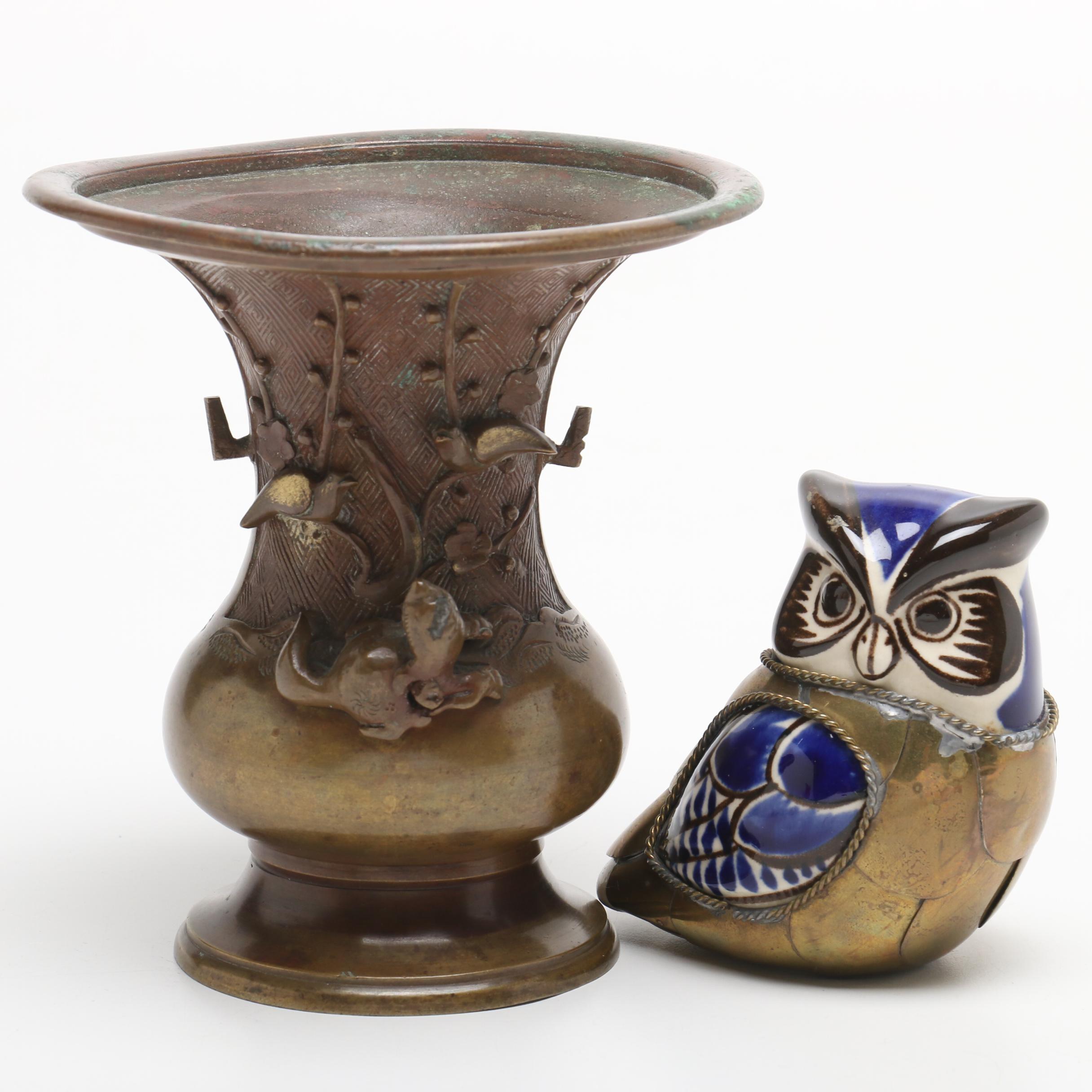Japanese Brass Animal Motif Vase with Owl Figurine