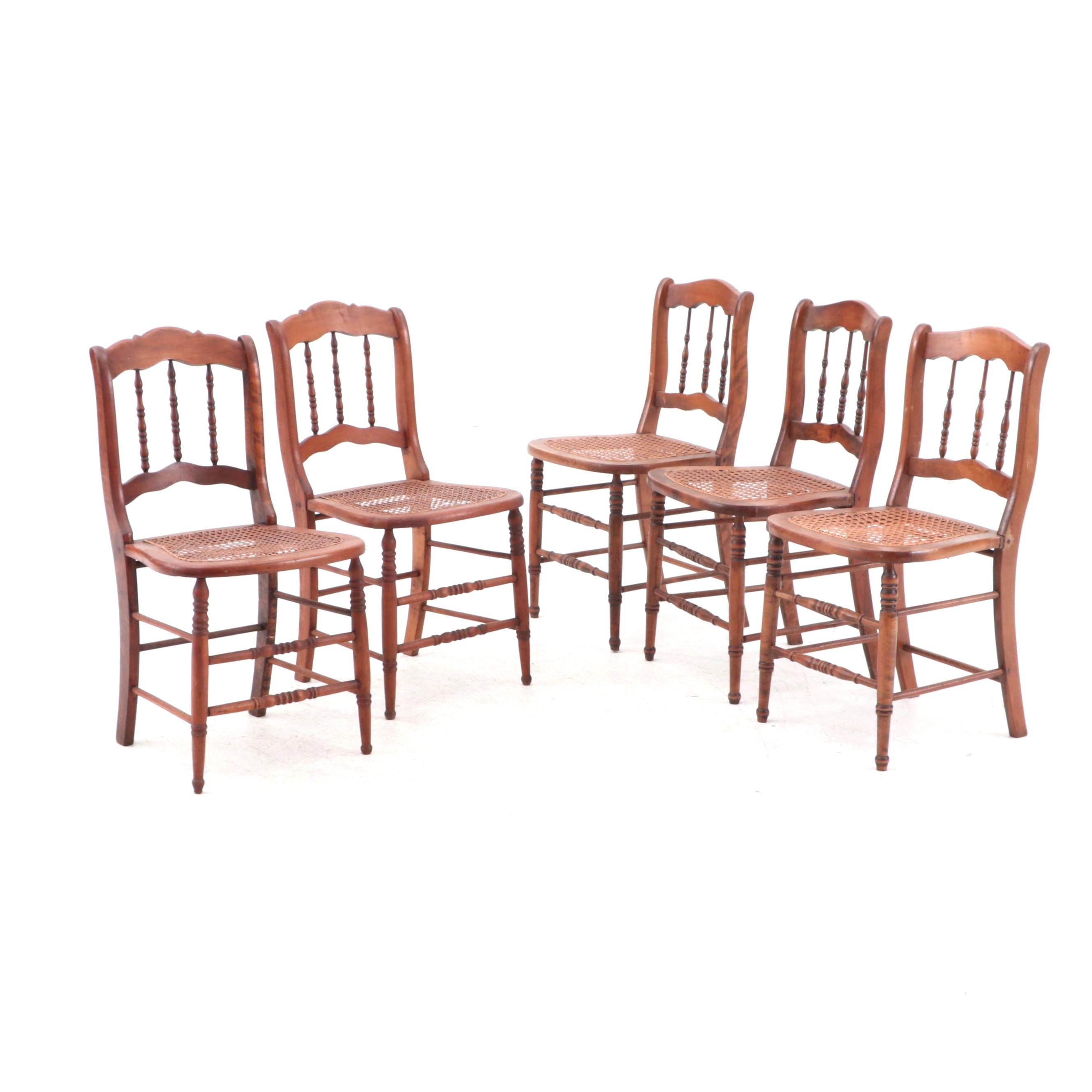 Early Victorian Side Chairs with Caned Seats in Walnut