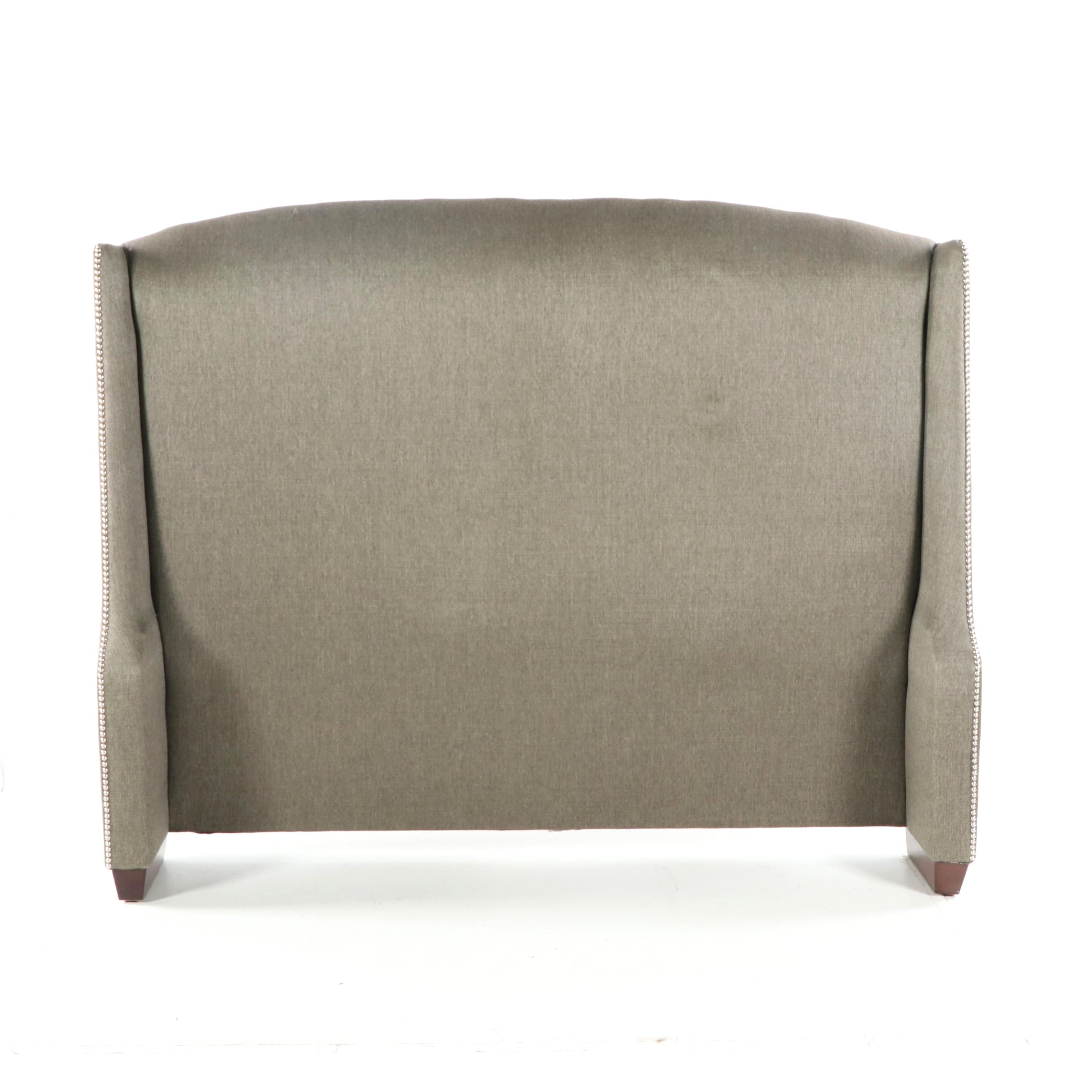 Upholstered Queen Size Wingback Headboard, 21st Century